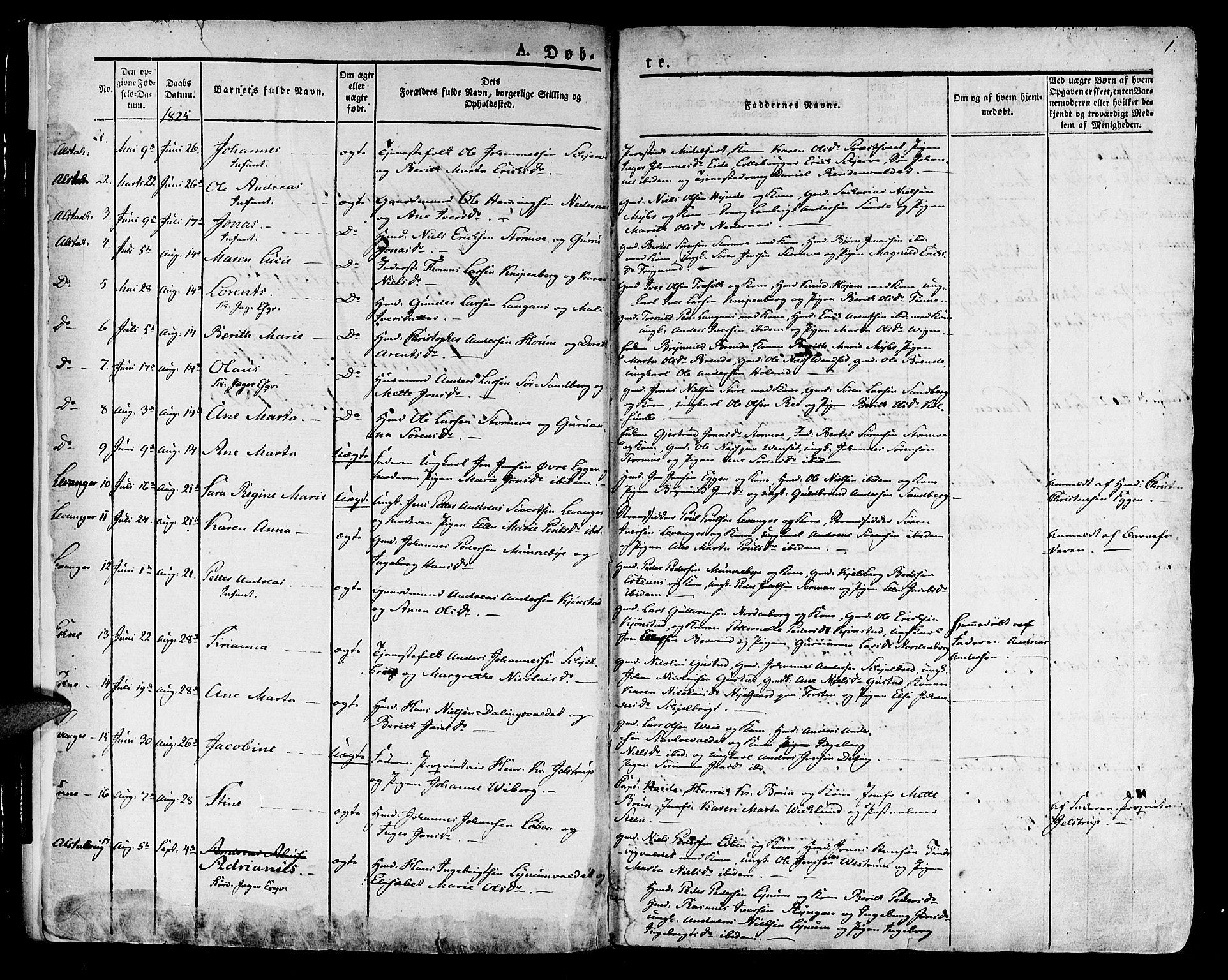 SAT, Ministerialprotokoller, klokkerbøker og fødselsregistre - Nord-Trøndelag, 717/L0152: Ministerialbok nr. 717A05 /1, 1825-1836, s. 1