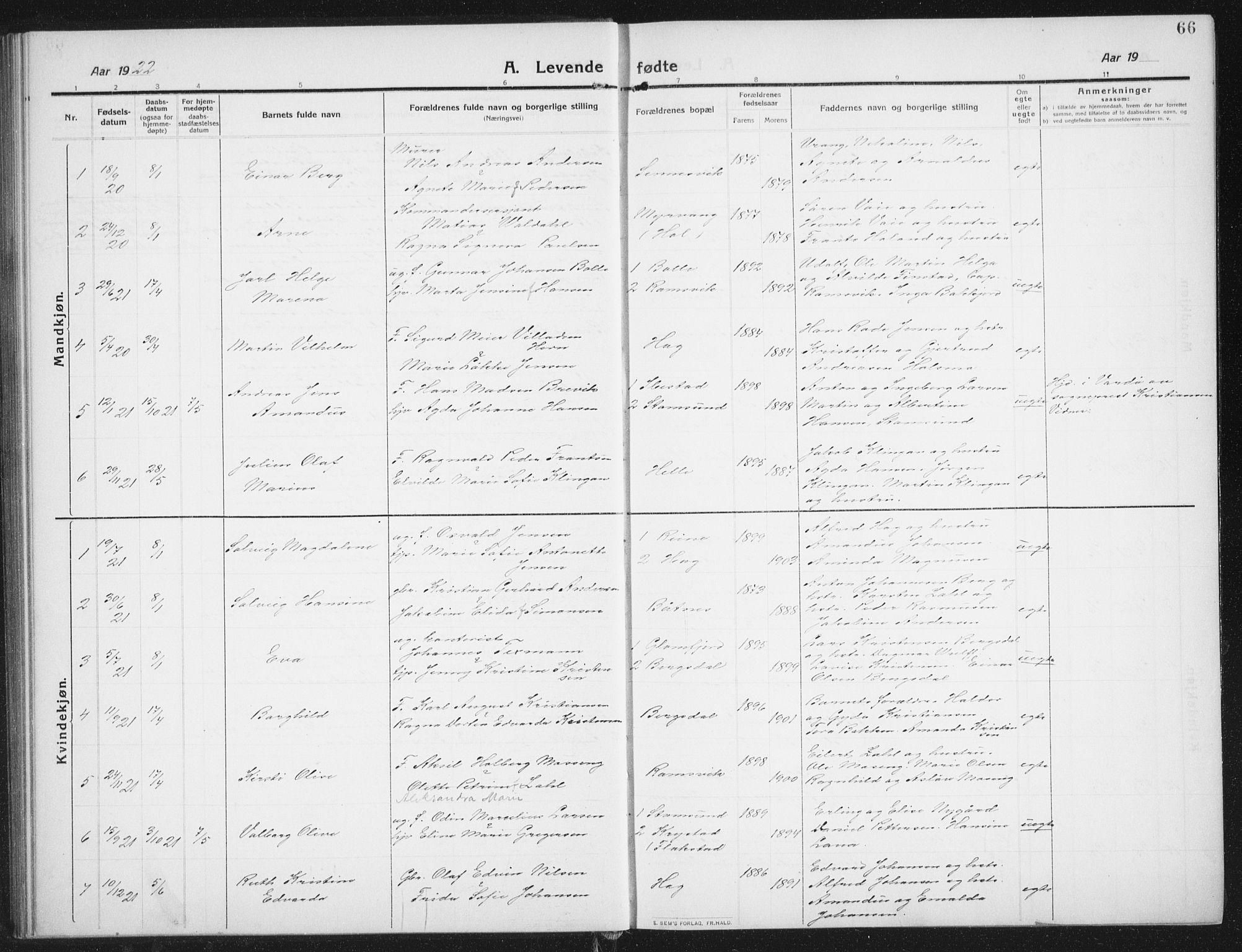SAT, Ministerialprotokoller, klokkerbøker og fødselsregistre - Nordland, 882/L1183: Klokkerbok nr. 882C01, 1911-1938, s. 66
