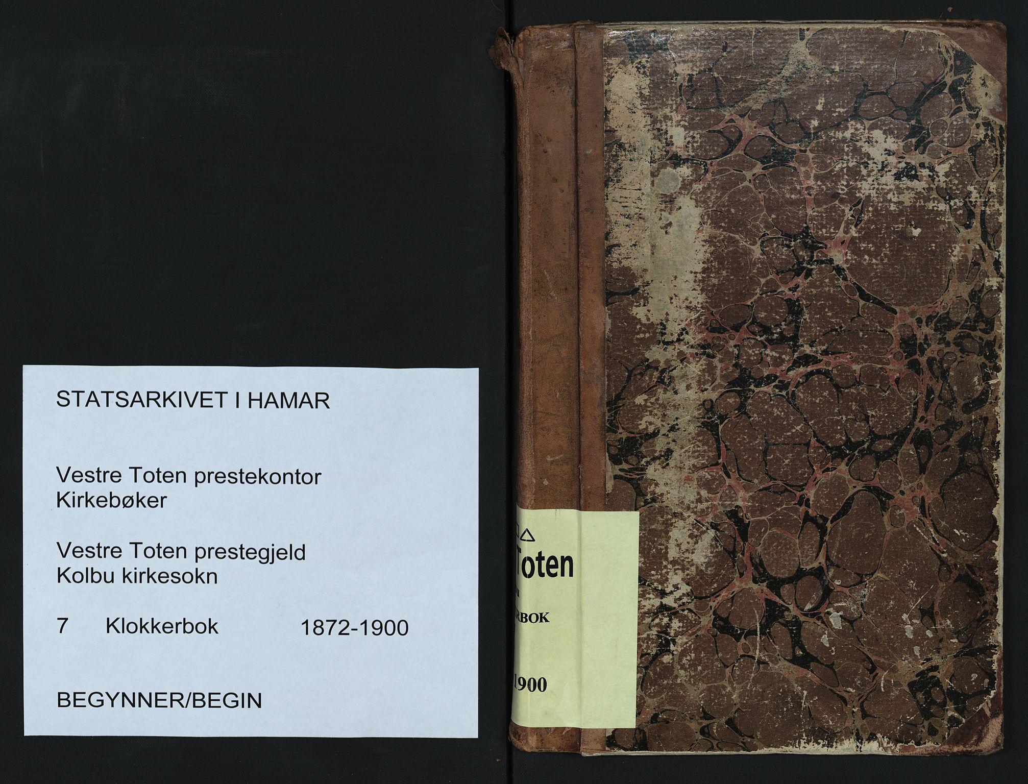 SAH, Vestre Toten prestekontor, Klokkerbok nr. 7, 1872-1900