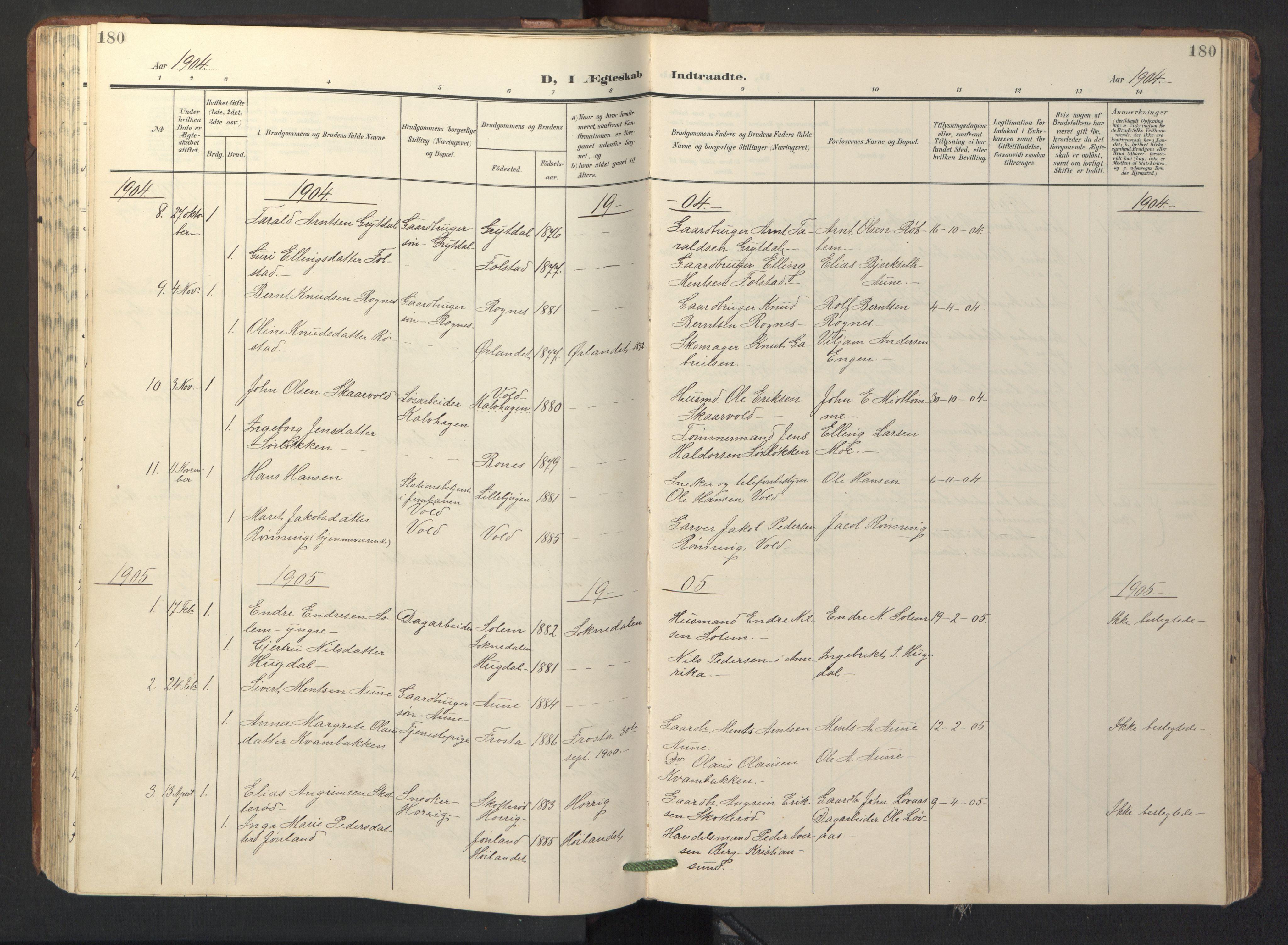 SAT, Ministerialprotokoller, klokkerbøker og fødselsregistre - Sør-Trøndelag, 687/L1019: Klokkerbok nr. 687C03, 1904-1931, s. 180