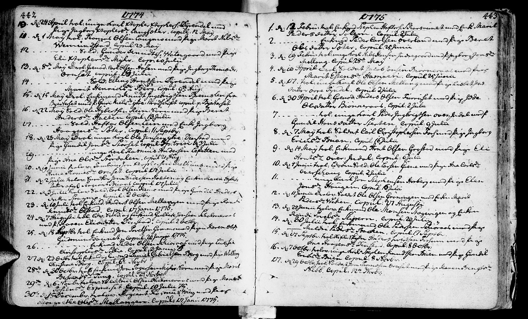 SAT, Ministerialprotokoller, klokkerbøker og fødselsregistre - Sør-Trøndelag, 646/L0605: Ministerialbok nr. 646A03, 1751-1790, s. 442-443