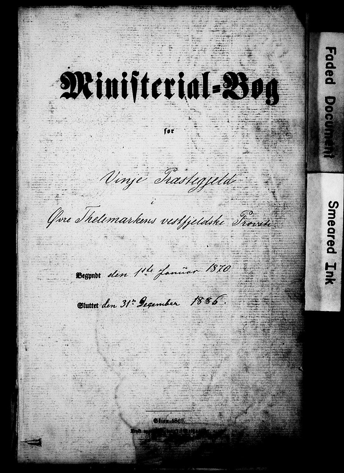 SAKO, Vinje kirkebøker, F/Fa/L0005: Ministerialbok nr. I 5, 1870-1886