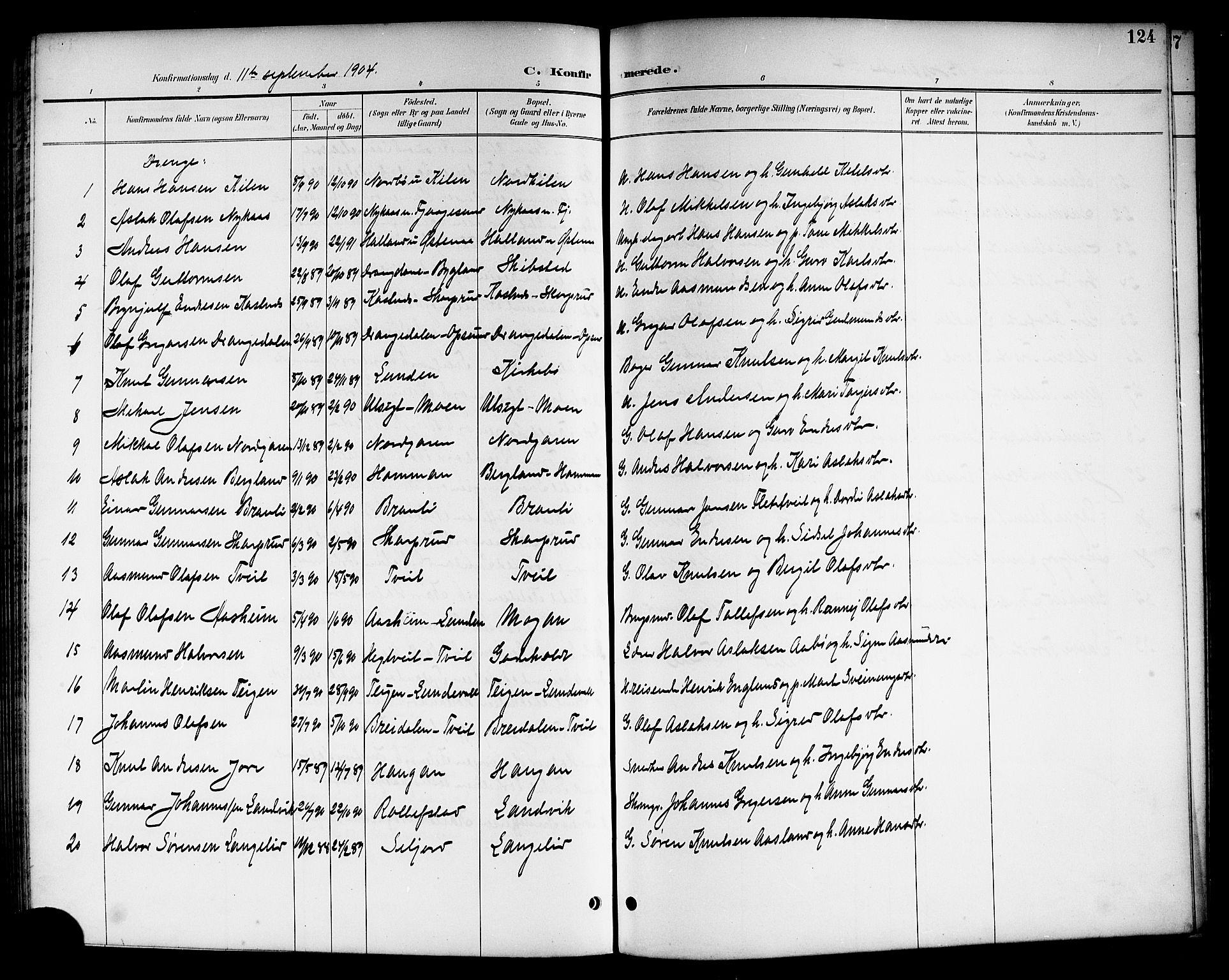 SAKO, Kviteseid kirkebøker, G/Ga/L0002: Klokkerbok nr. I 2, 1893-1918, s. 124