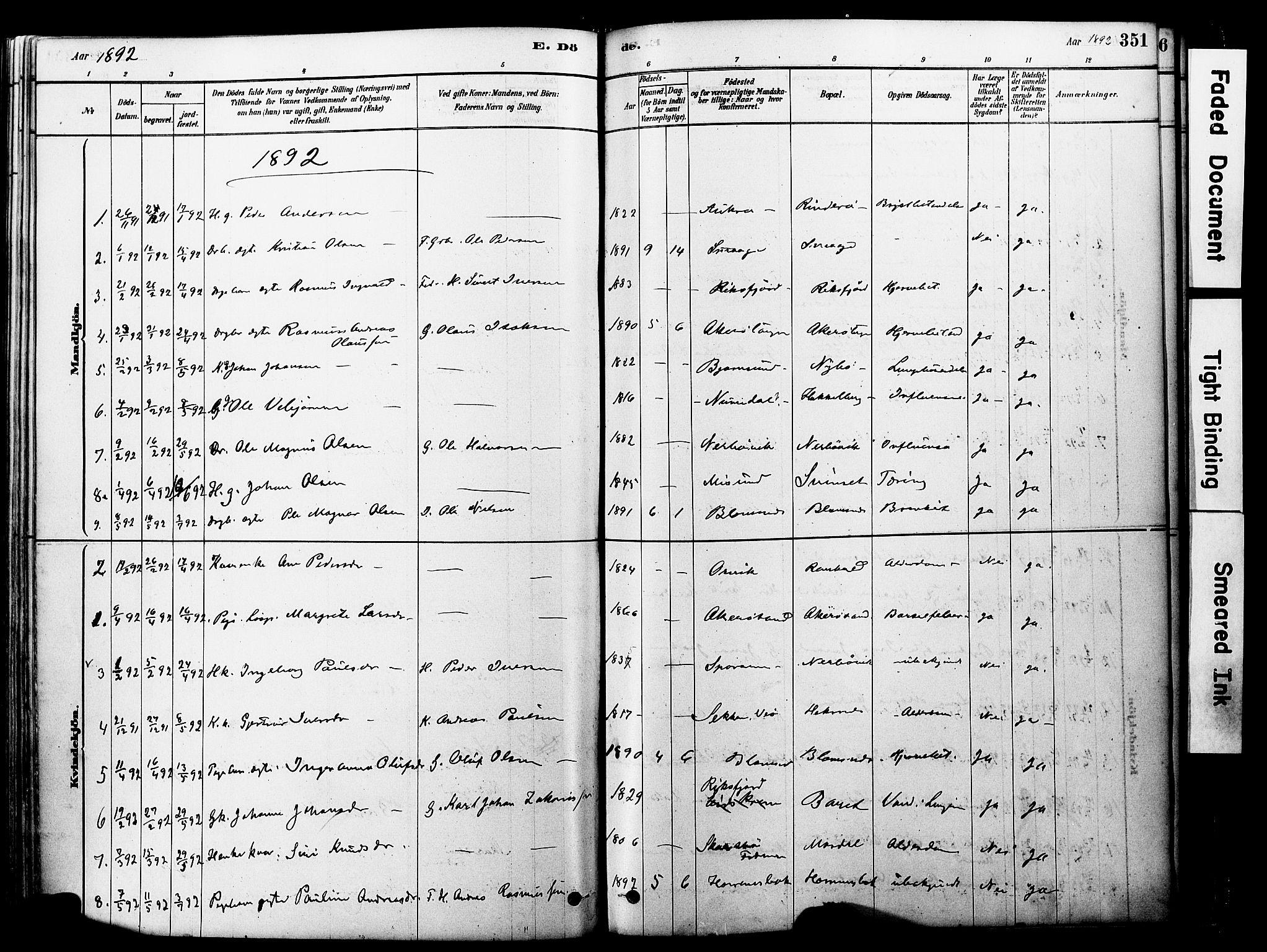 SAT, Ministerialprotokoller, klokkerbøker og fødselsregistre - Møre og Romsdal, 560/L0721: Ministerialbok nr. 560A05, 1878-1917, s. 351