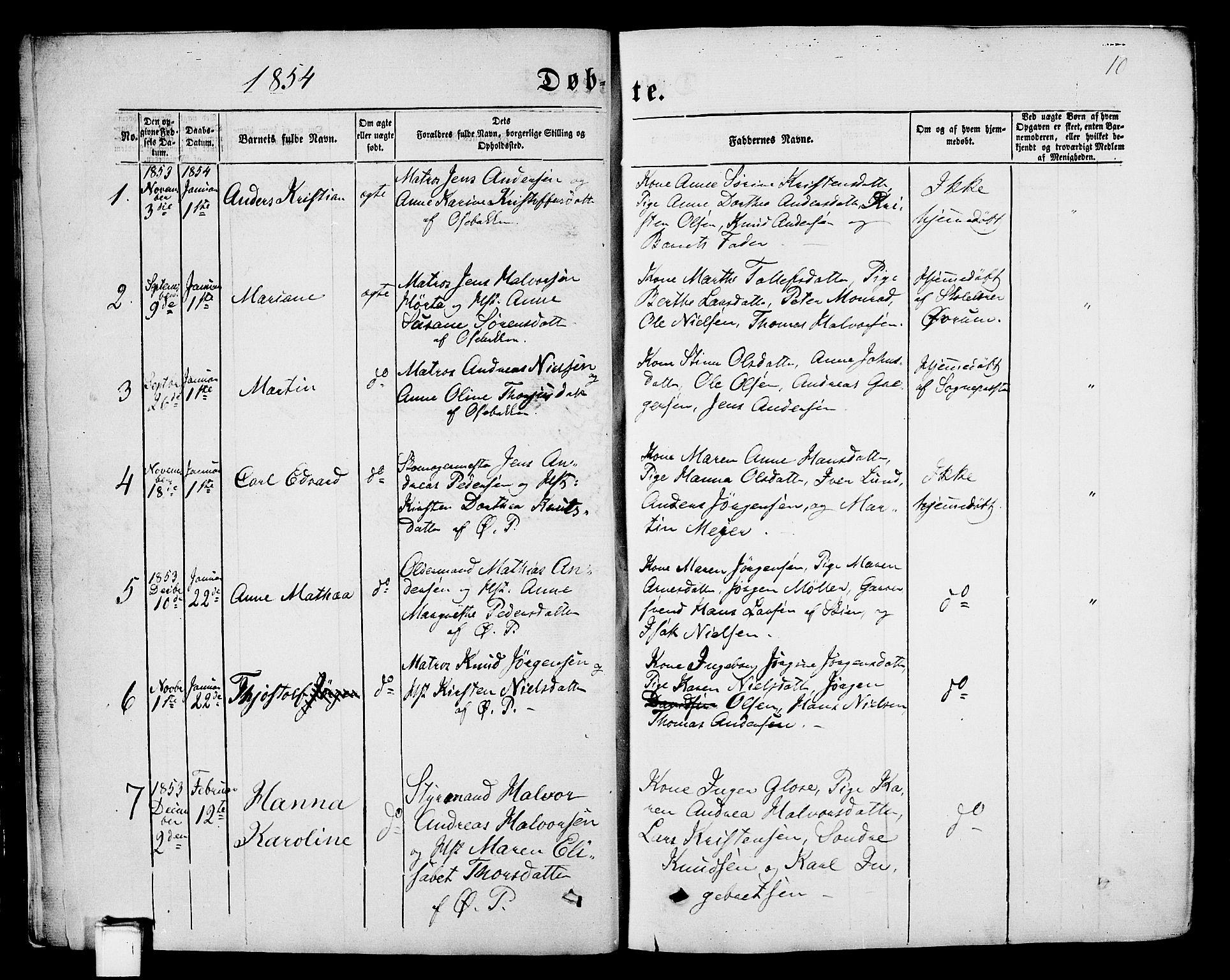 SAKO, Porsgrunn kirkebøker , G/Gb/L0004: Klokkerbok nr. II 4, 1853-1882, s. 10