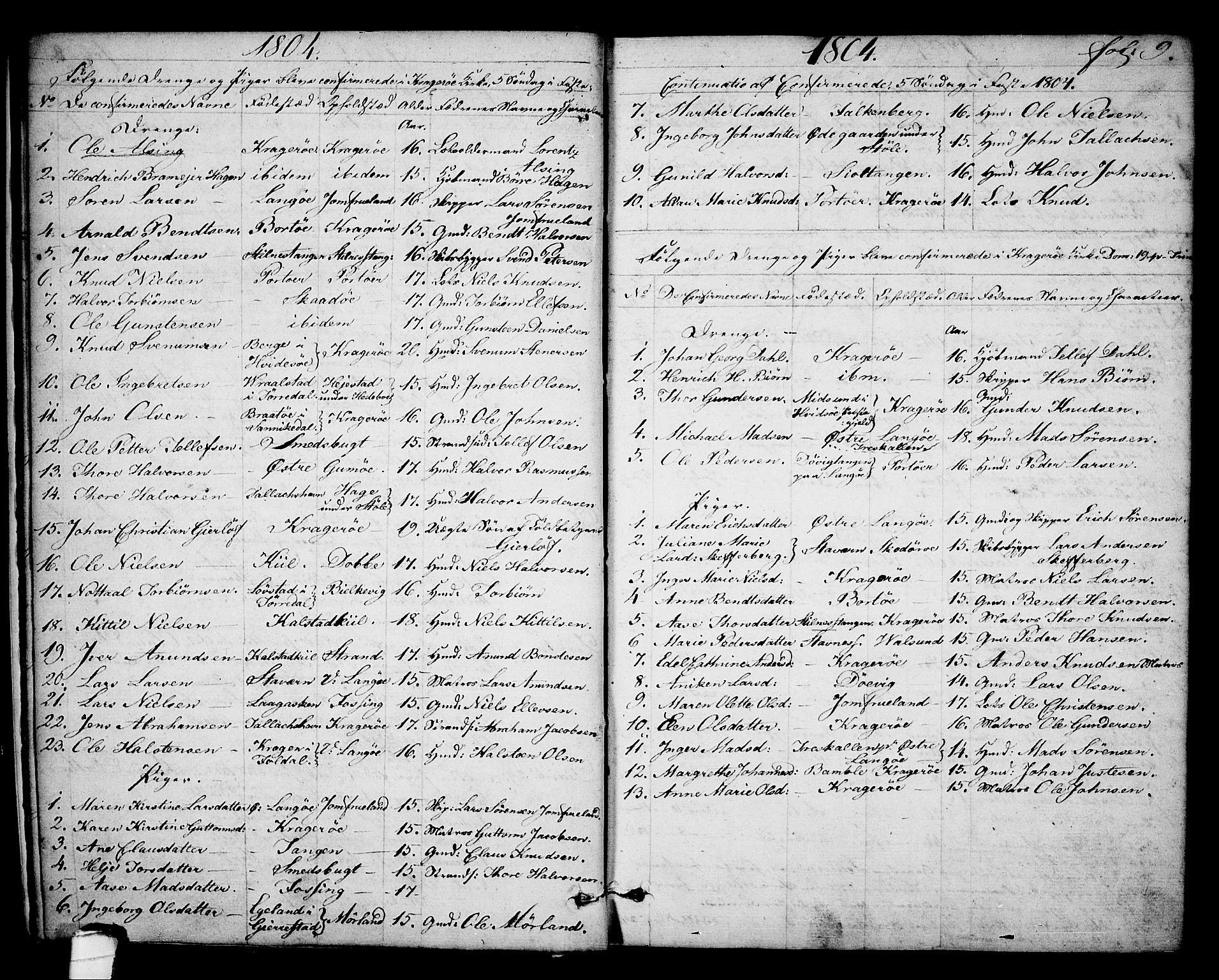 SAKO, Kragerø kirkebøker, F/Fa/L0003: Ministerialbok nr. 3, 1802-1813, s. 9