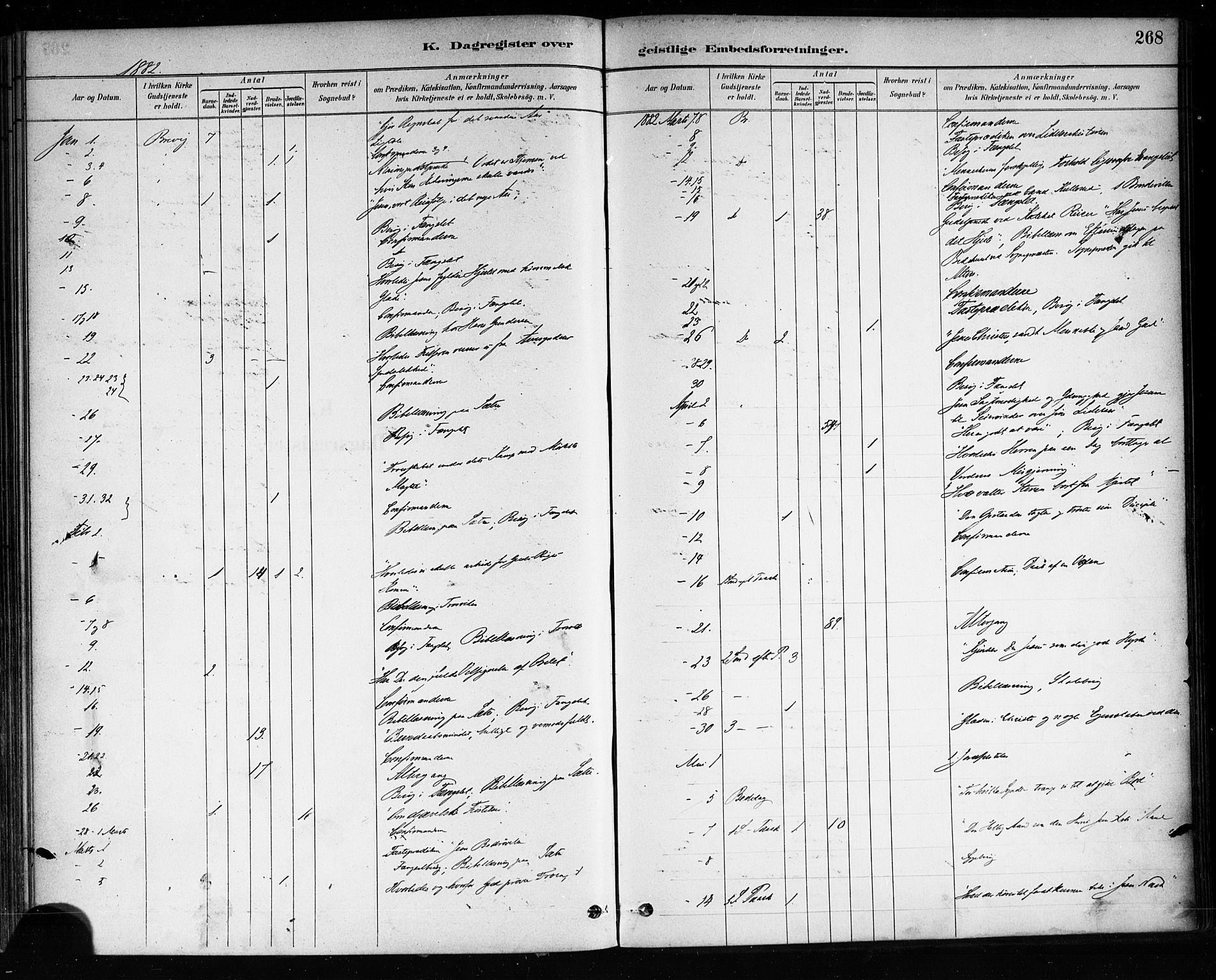 SAKO, Brevik kirkebøker, F/Fa/L0007: Ministerialbok nr. 7, 1882-1900, s. 268