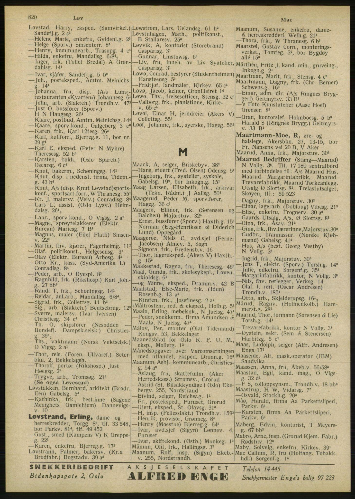 RA, Oslo adressebok (publikasjon)*, 1946, s. 820