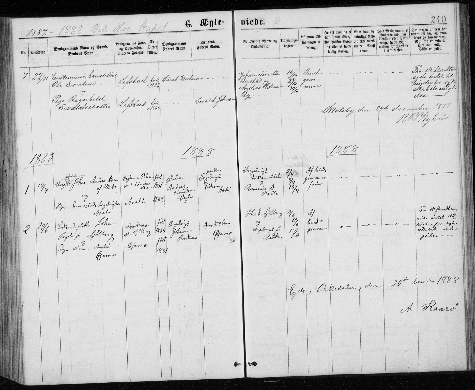SAT, Ministerialprotokoller, klokkerbøker og fødselsregistre - Sør-Trøndelag, 671/L0843: Klokkerbok nr. 671C02, 1873-1892, s. 240