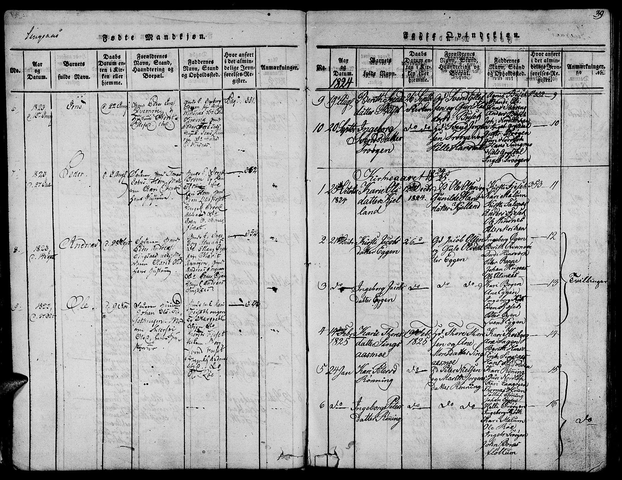 SAT, Ministerialprotokoller, klokkerbøker og fødselsregistre - Sør-Trøndelag, 685/L0955: Ministerialbok nr. 685A03 /2, 1817-1829, s. 39