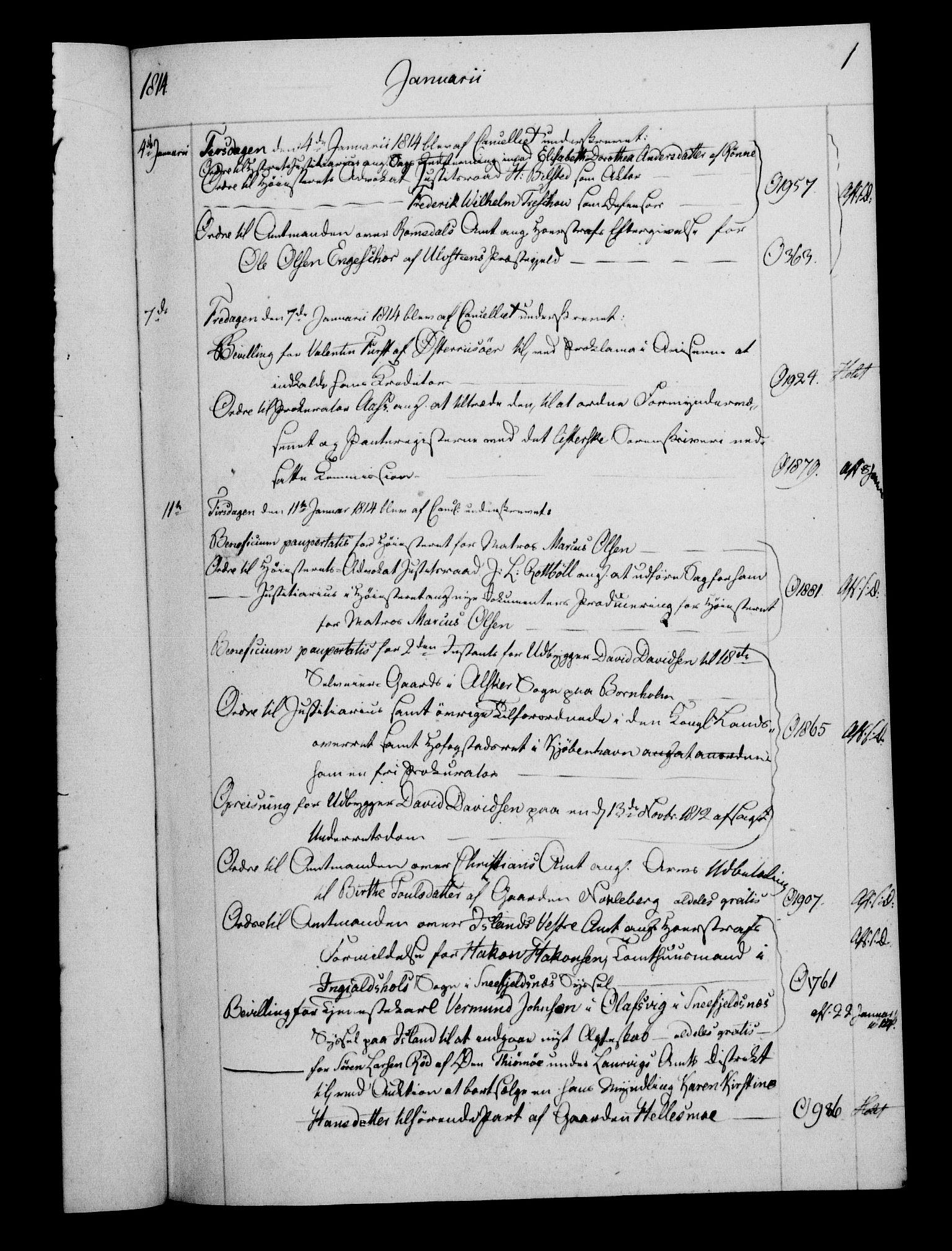 RA, Danske Kanselli 1800-1814, H/Hf/Hfb/Hfbc/L0015: Underskrivelsesbok m. register, 1814, s. 1