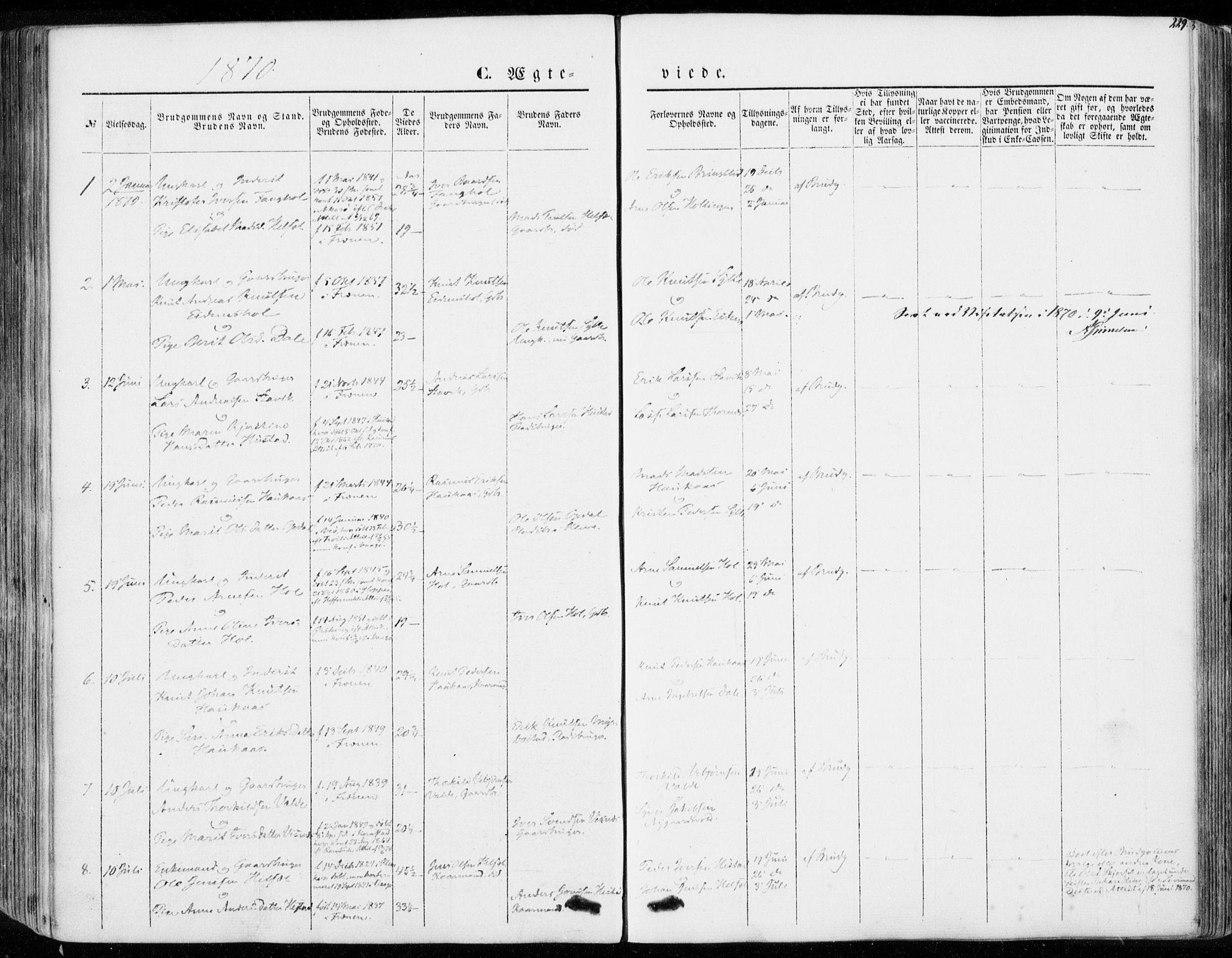 SAT, Ministerialprotokoller, klokkerbøker og fødselsregistre - Møre og Romsdal, 565/L0748: Ministerialbok nr. 565A02, 1845-1872, s. 229