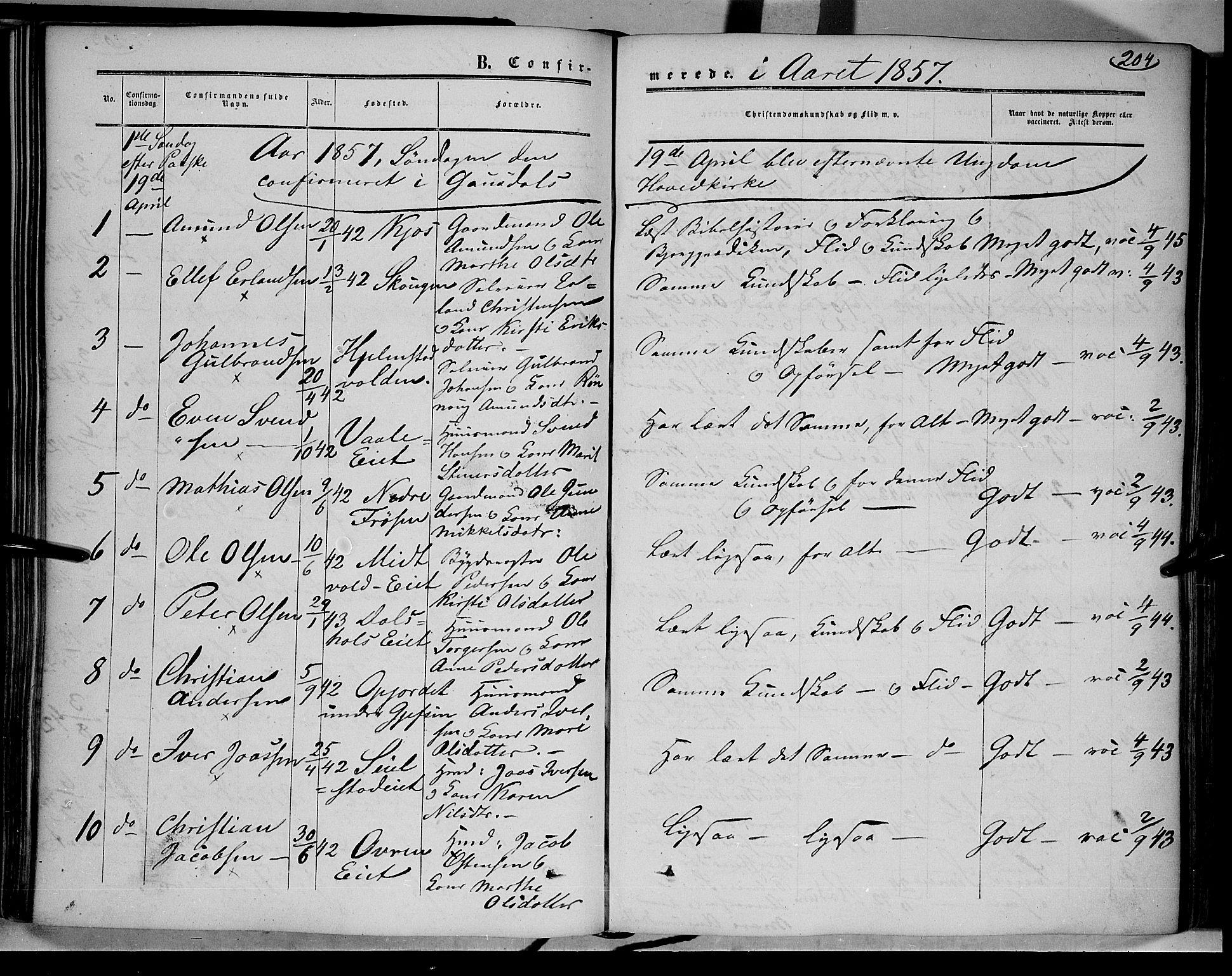 SAH, Gausdal prestekontor, Ministerialbok nr. 8, 1850-1861, s. 204