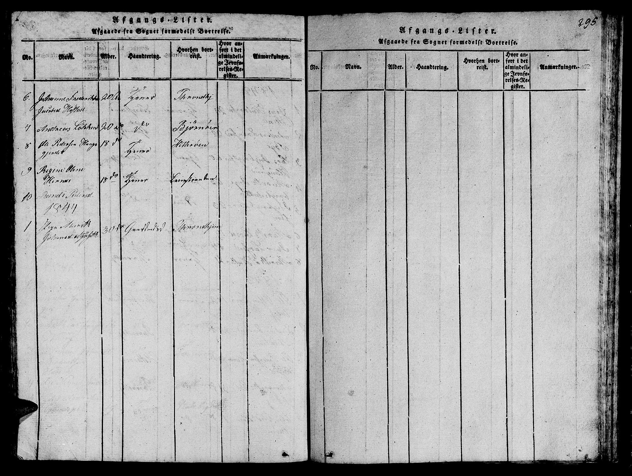 SAT, Ministerialprotokoller, klokkerbøker og fødselsregistre - Sør-Trøndelag, 612/L0385: Klokkerbok nr. 612C01, 1816-1845, s. 295