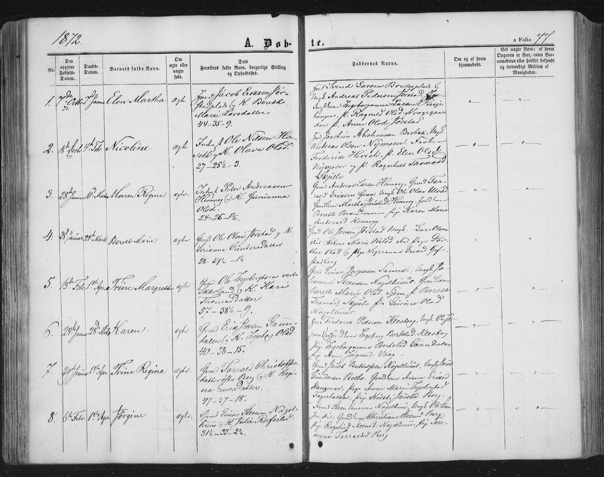 SAT, Ministerialprotokoller, klokkerbøker og fødselsregistre - Nord-Trøndelag, 749/L0472: Ministerialbok nr. 749A06, 1857-1873, s. 77