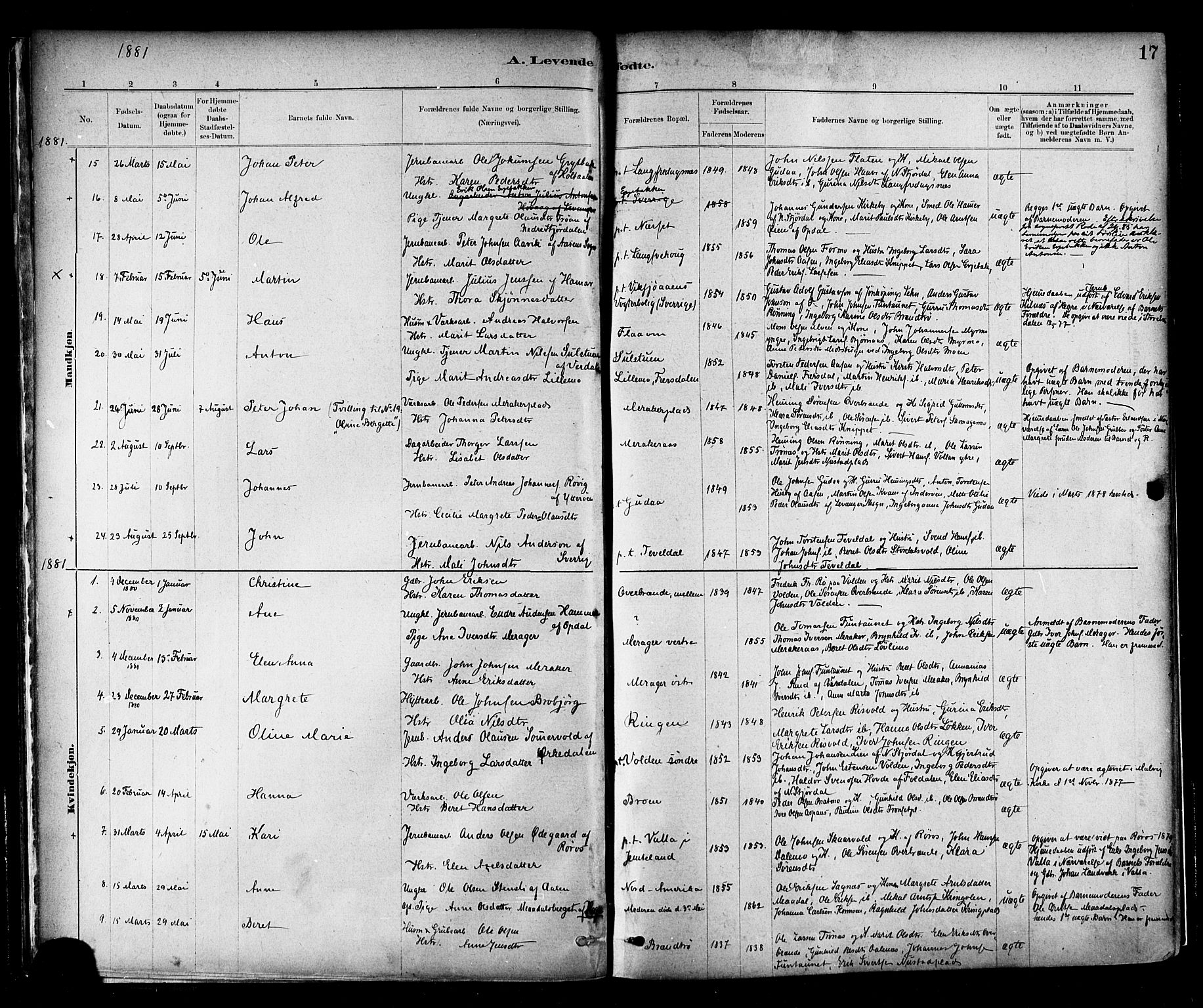 SAT, Ministerialprotokoller, klokkerbøker og fødselsregistre - Nord-Trøndelag, 706/L0047: Ministerialbok nr. 706A03, 1878-1892, s. 17