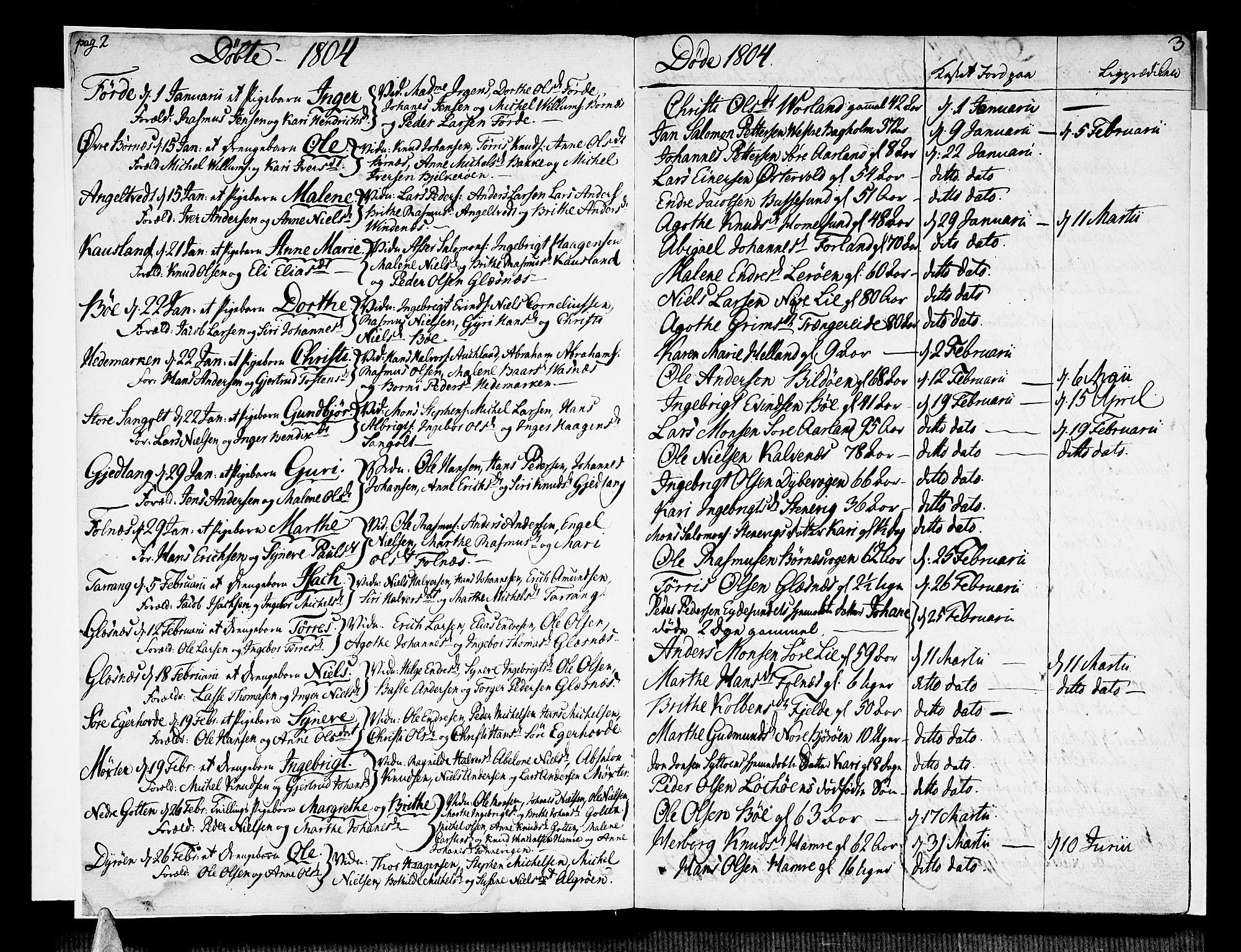 SAB, Sund sokneprestembete, Ministerialbok nr. A 10, 1804-1818, s. 2-3