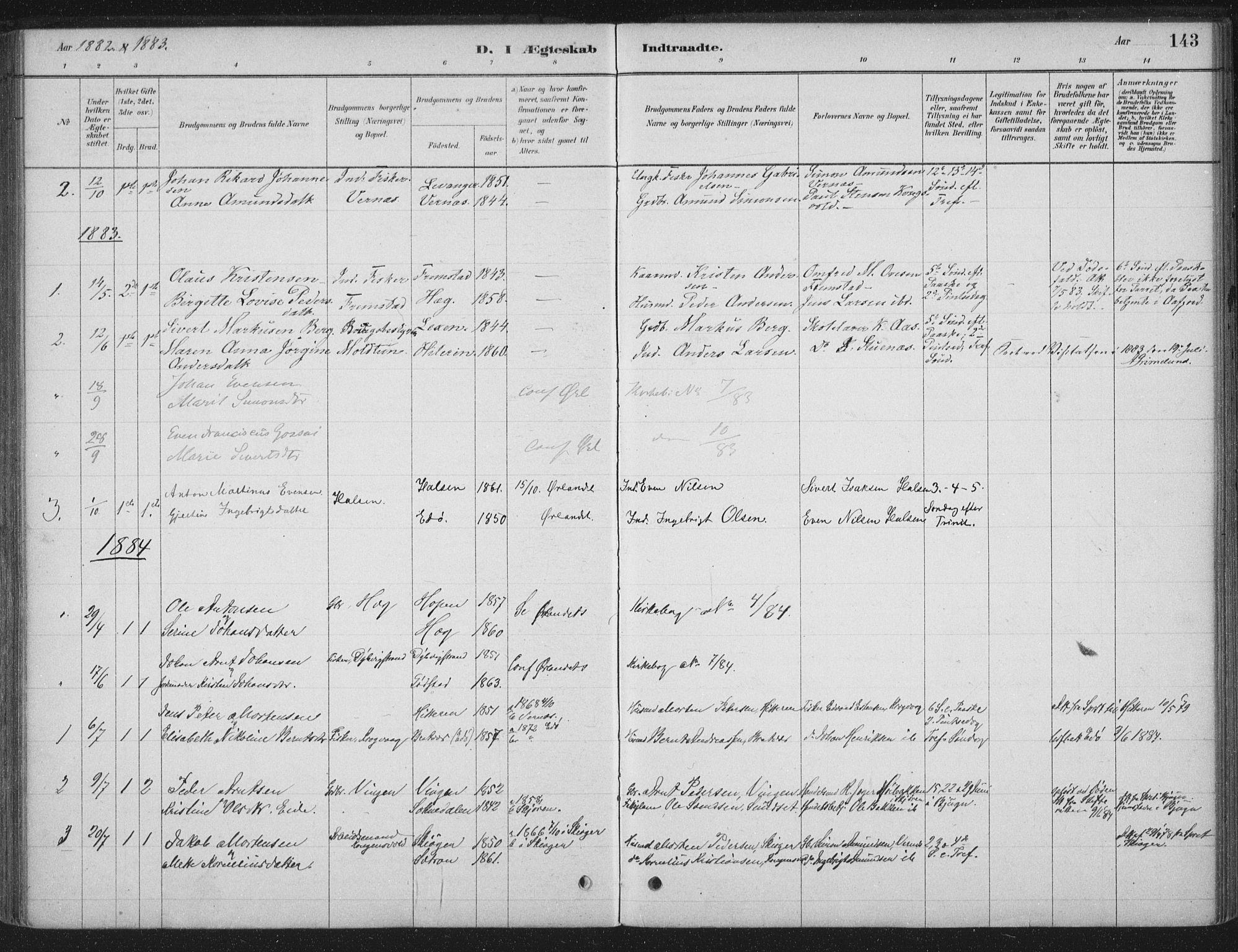 SAT, Ministerialprotokoller, klokkerbøker og fødselsregistre - Sør-Trøndelag, 662/L0755: Ministerialbok nr. 662A01, 1879-1905, s. 143