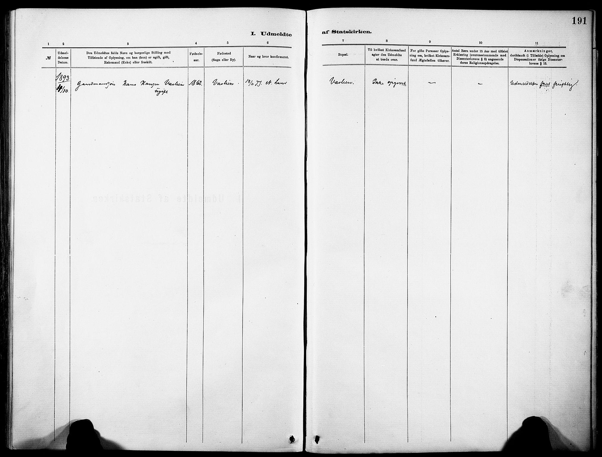 SAH, Nordre Land prestekontor, Ministerialbok nr. 5, 1882-1903, s. 191