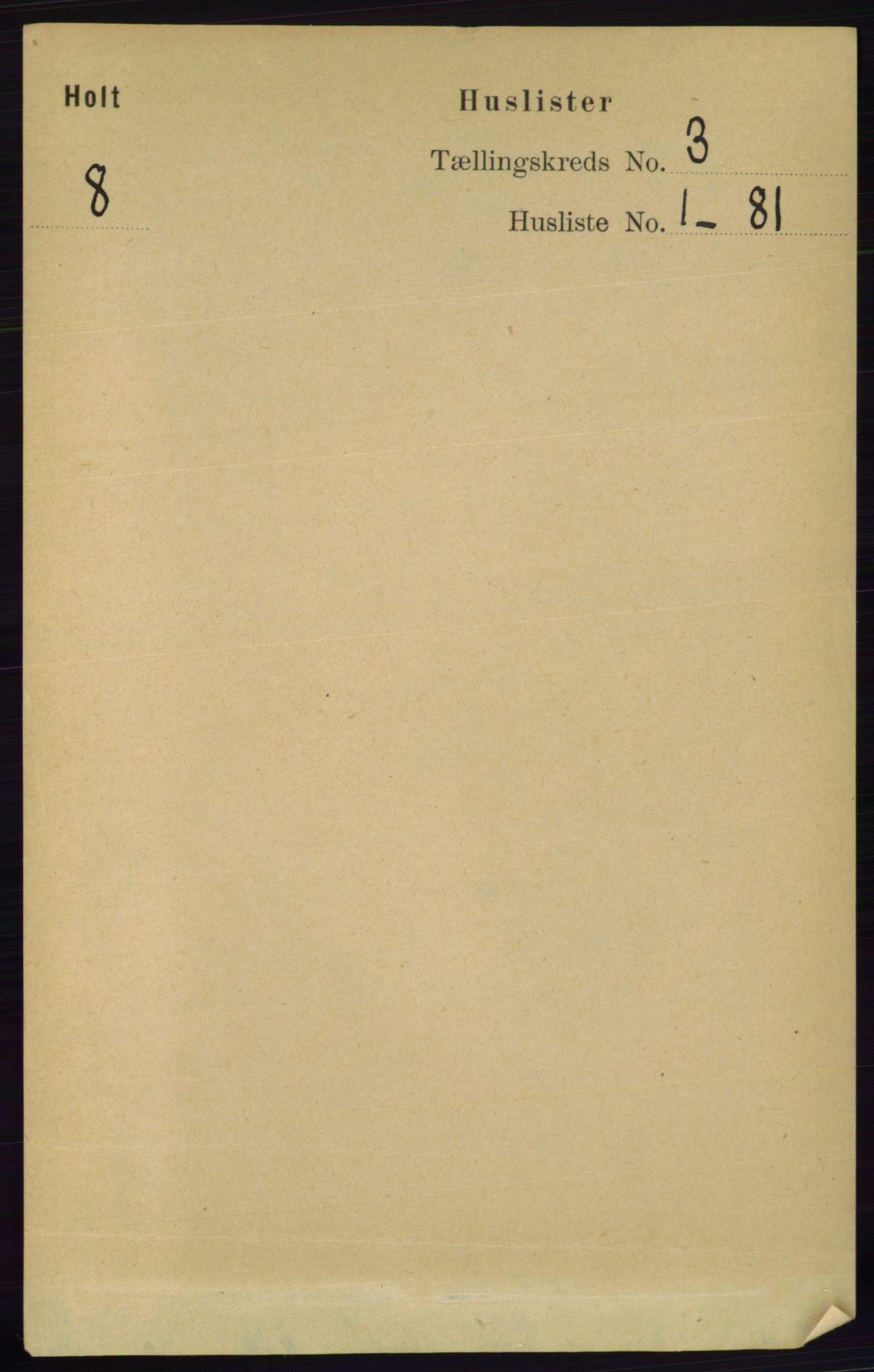 RA, Folketelling 1891 for 0914 Holt herred, 1891, s. 952
