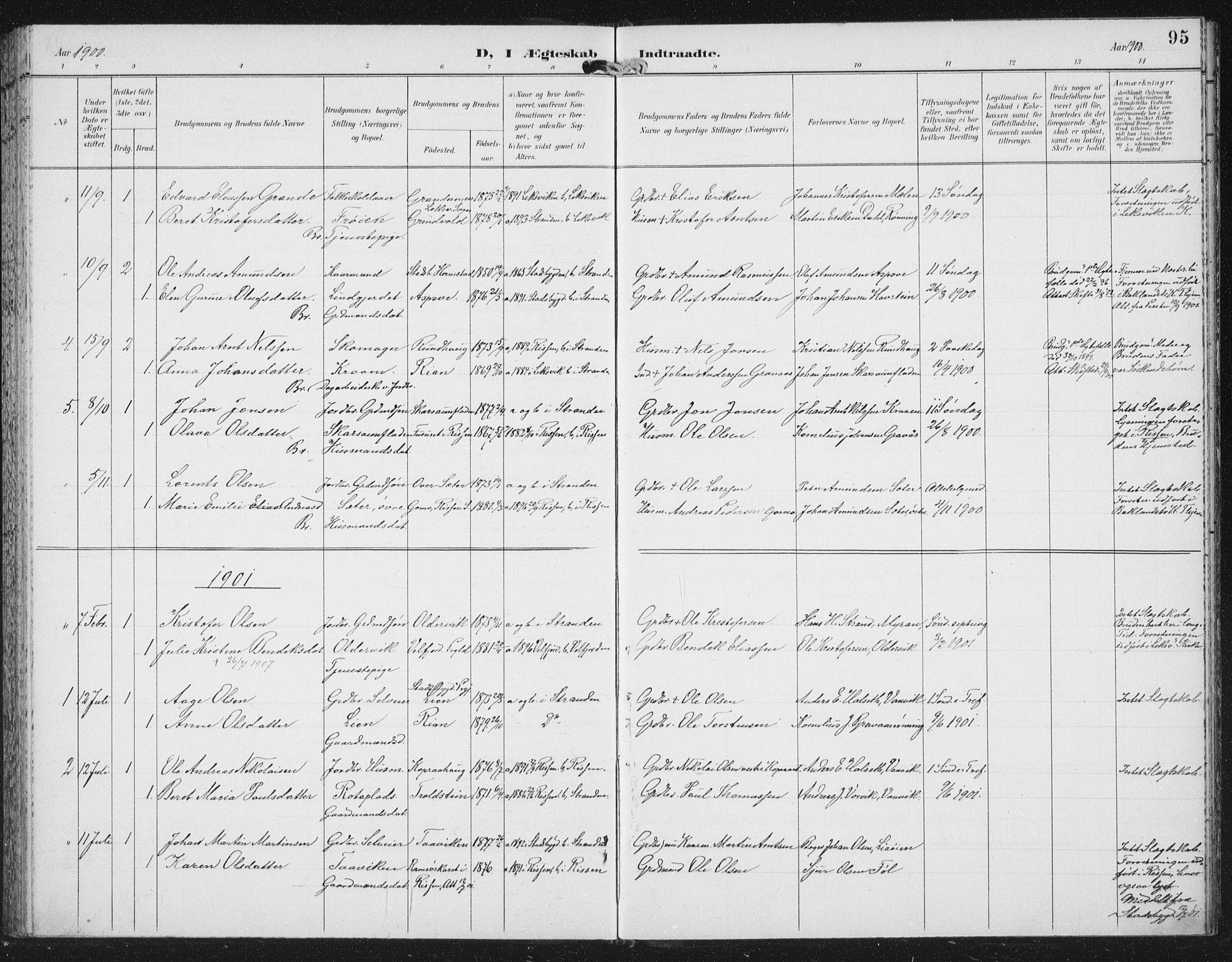 SAT, Ministerialprotokoller, klokkerbøker og fødselsregistre - Nord-Trøndelag, 702/L0024: Ministerialbok nr. 702A02, 1898-1914, s. 95