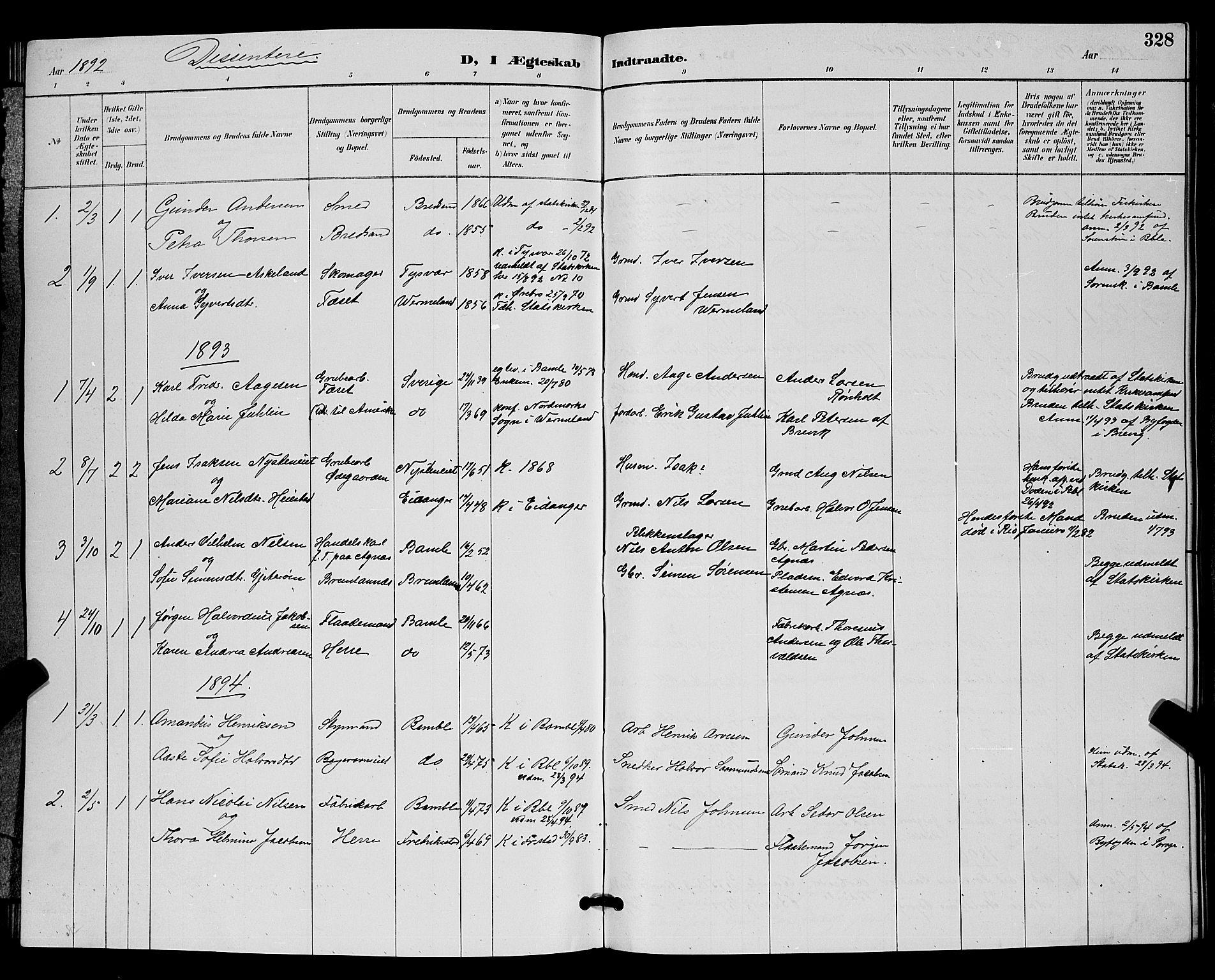 SAKO, Bamble kirkebøker, G/Ga/L0009: Klokkerbok nr. I 9, 1888-1900, s. 328