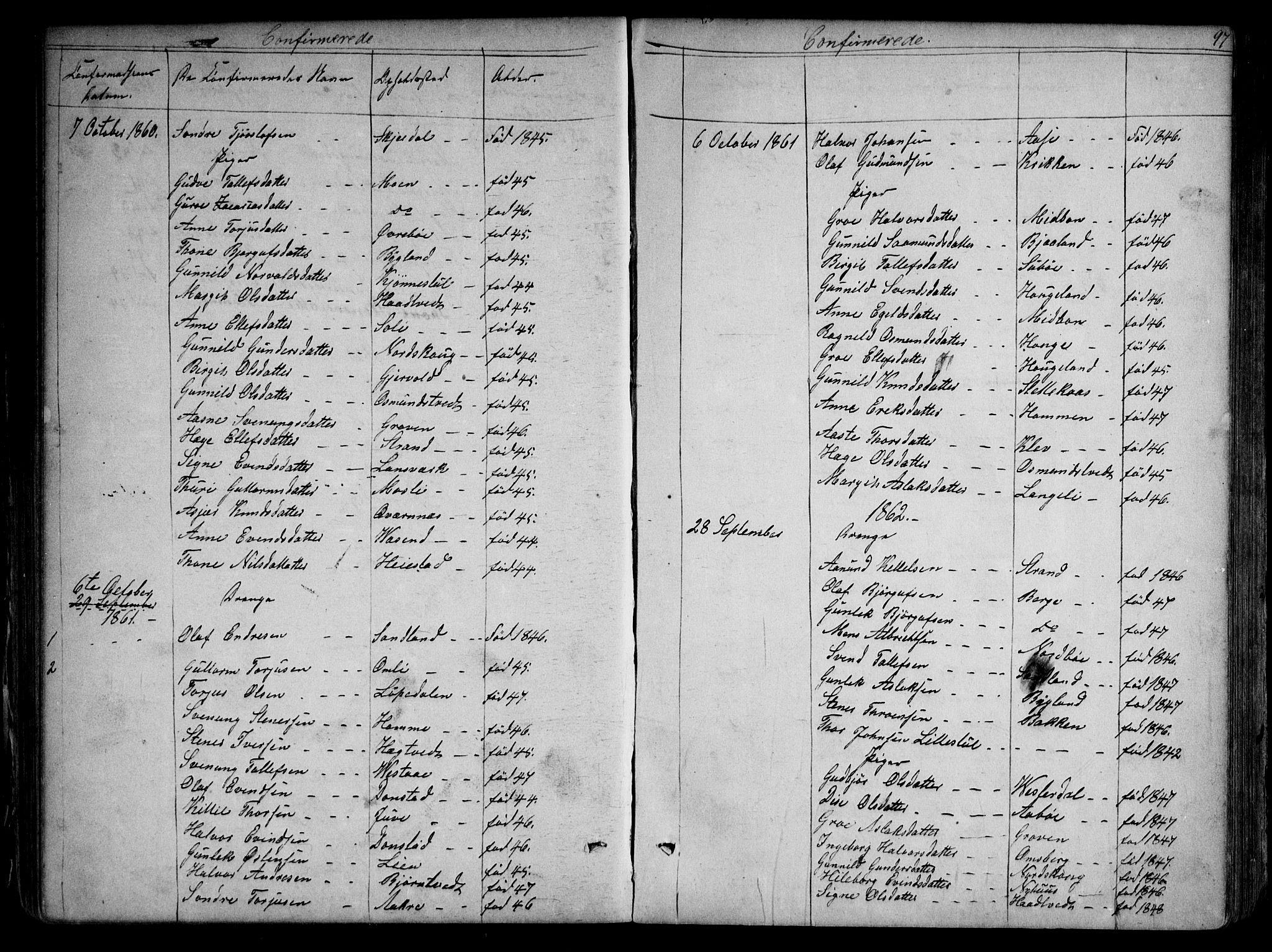 SAKO, Kviteseid kirkebøker, G/Gb/L0002: Klokkerbok nr. II 2, 1850-1892, s. 97