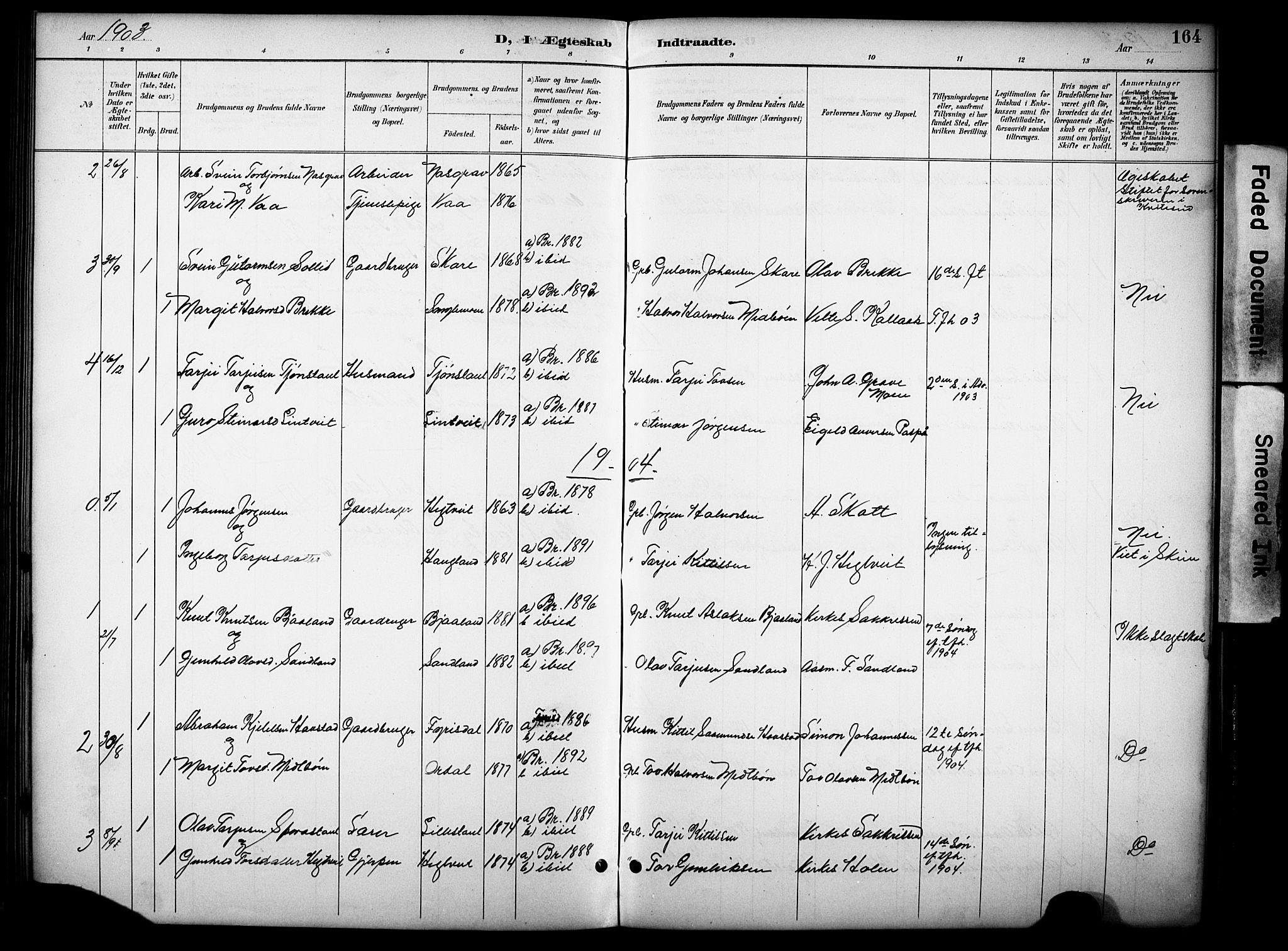 SAKO, Kviteseid kirkebøker, G/Gb/L0003: Klokkerbok nr. II 3, 1893-1933, s. 164