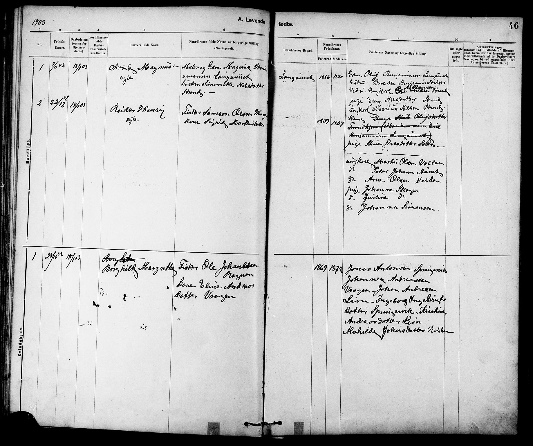 SAT, Ministerialprotokoller, klokkerbøker og fødselsregistre - Sør-Trøndelag, 639/L0573: Klokkerbok nr. 639C01, 1890-1905, s. 46