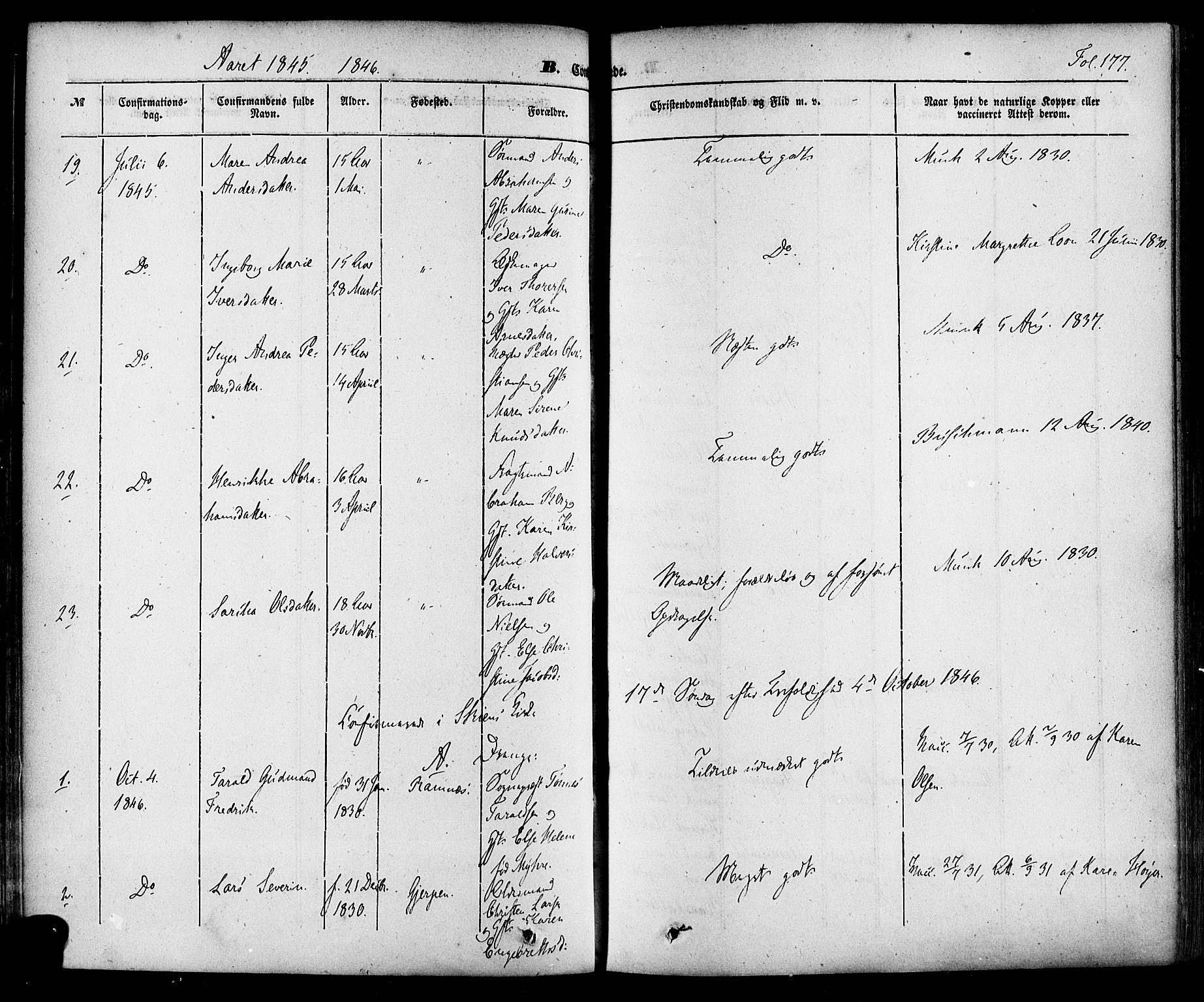 SAKO, Skien kirkebøker, F/Fa/L0006a: Ministerialbok nr. 6A, 1843-1856, s. 177