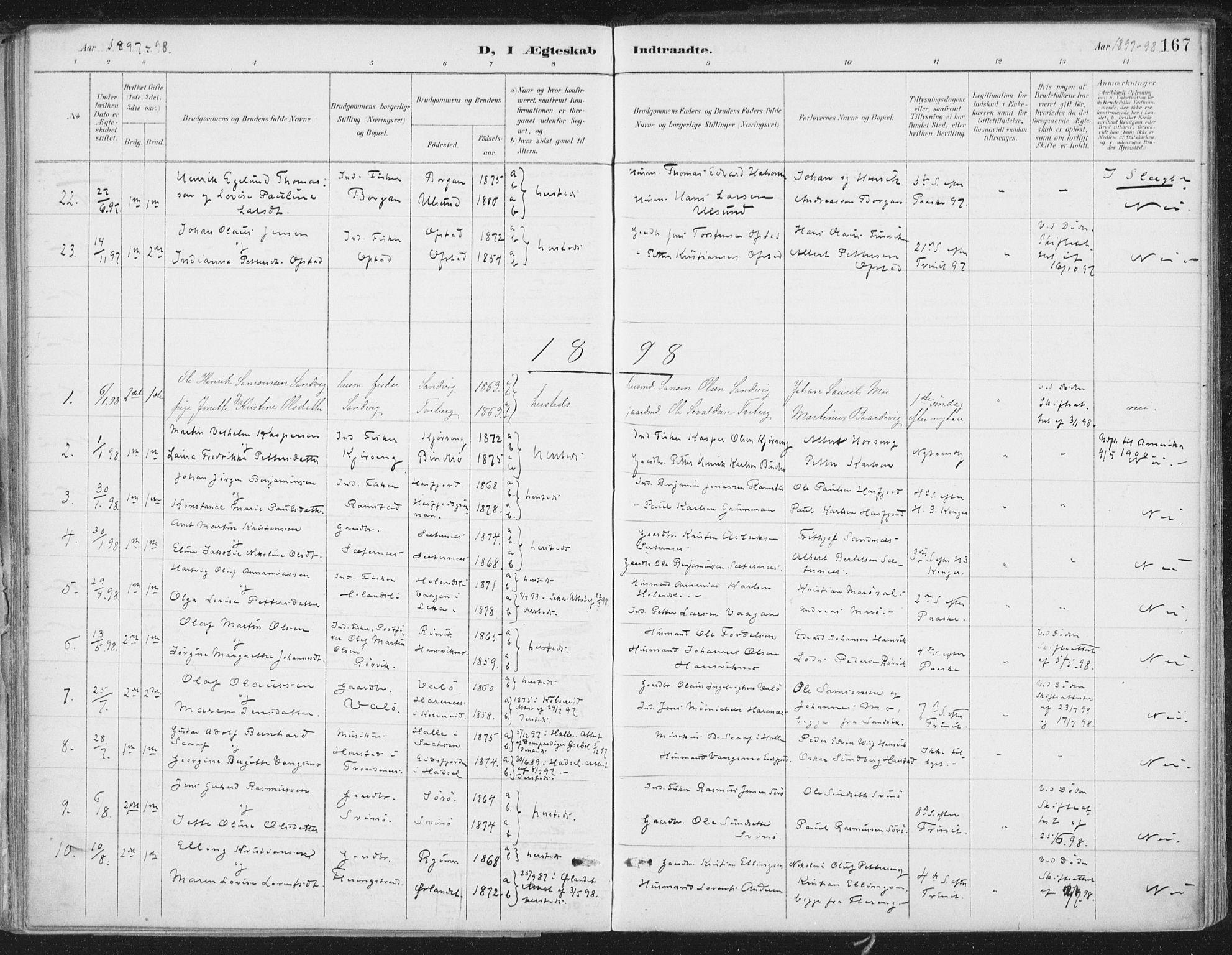SAT, Ministerialprotokoller, klokkerbøker og fødselsregistre - Nord-Trøndelag, 786/L0687: Ministerialbok nr. 786A03, 1888-1898, s. 167