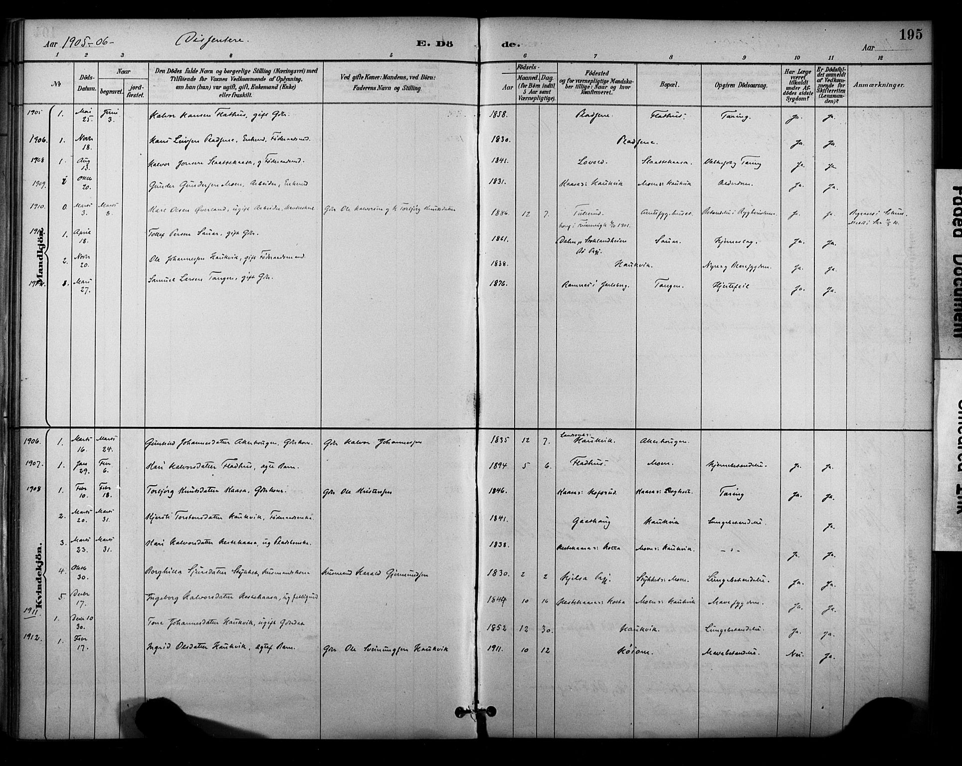 SAKO, Sauherad kirkebøker, F/Fa/L0009: Ministerialbok nr. I 9, 1887-1912, s. 195
