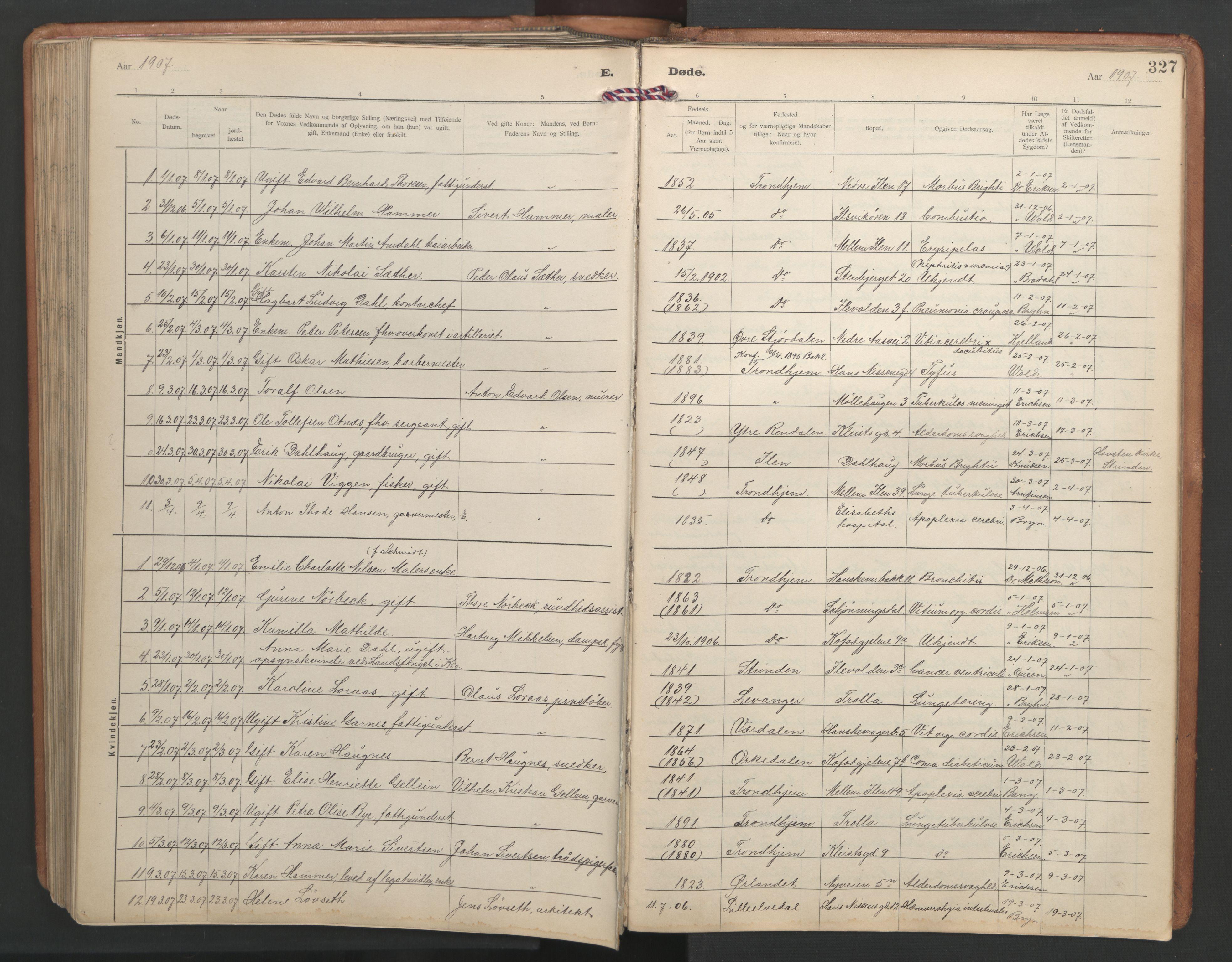 SAT, Ministerialprotokoller, klokkerbøker og fødselsregistre - Sør-Trøndelag, 603/L0173: Klokkerbok nr. 603C01, 1907-1962, s. 327