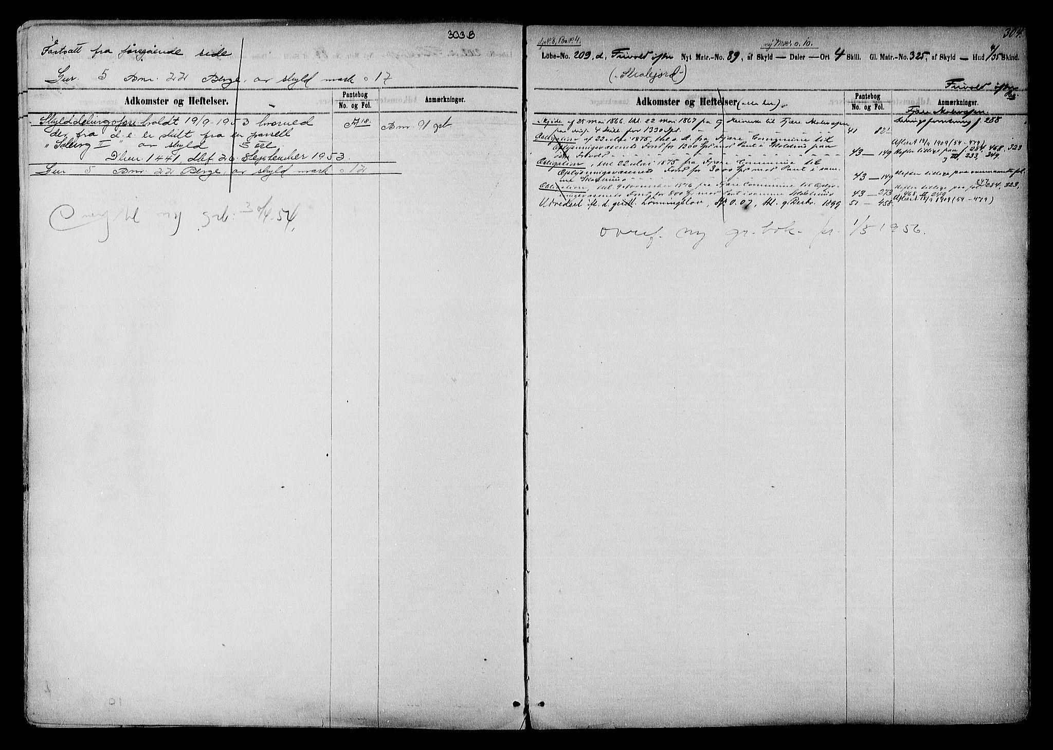 SAK, Vestre Nedenes/Sand sorenskriveri, G/Ga/L0016: Panteregister nr. 12b, 1770-1957, s. 304