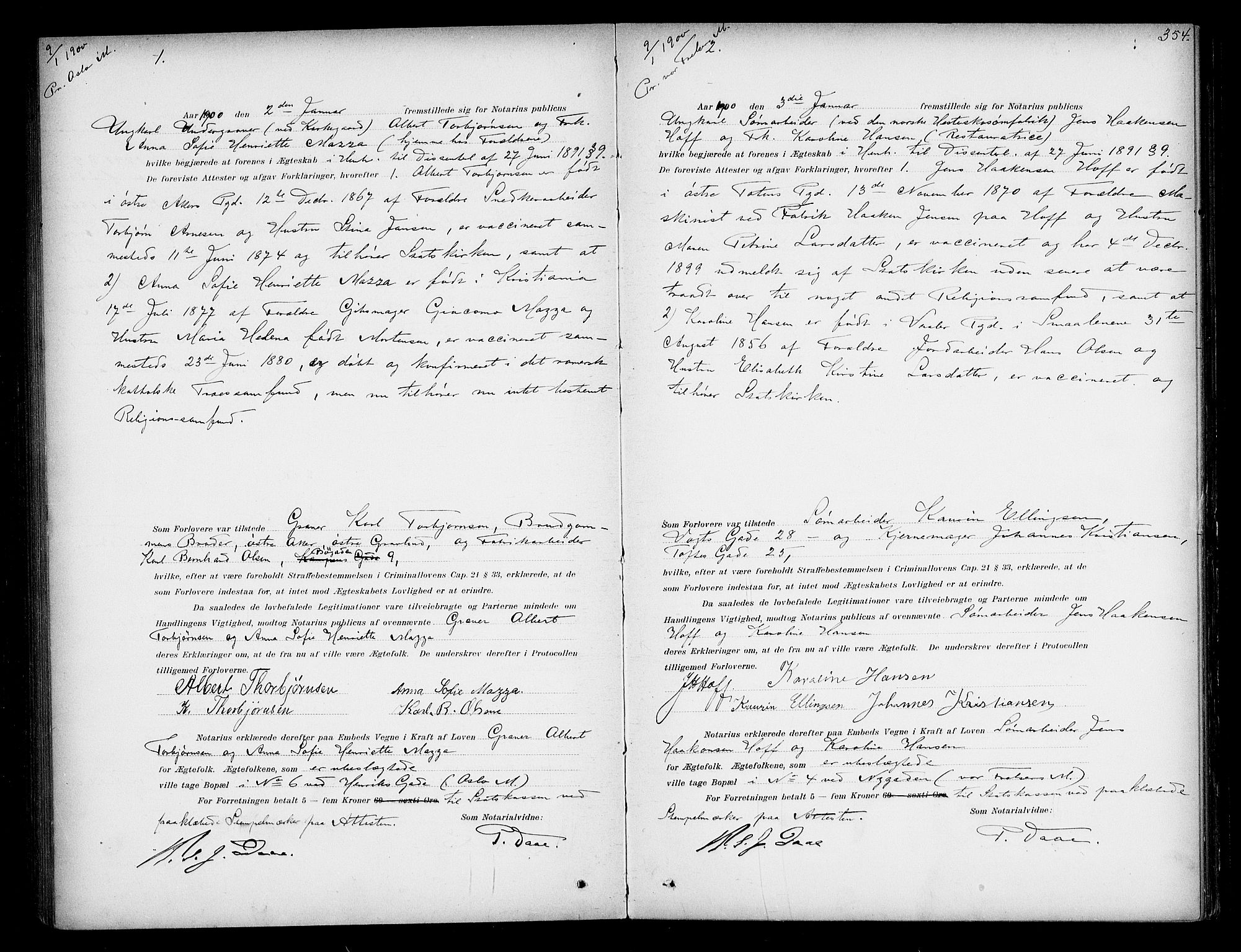 SAO, Oslo byfogd avd. I, L/Lb/Lbb/L0005: Notarialprotokoll, rekke II: Vigsler, 1897-1902, s. 353b-354a