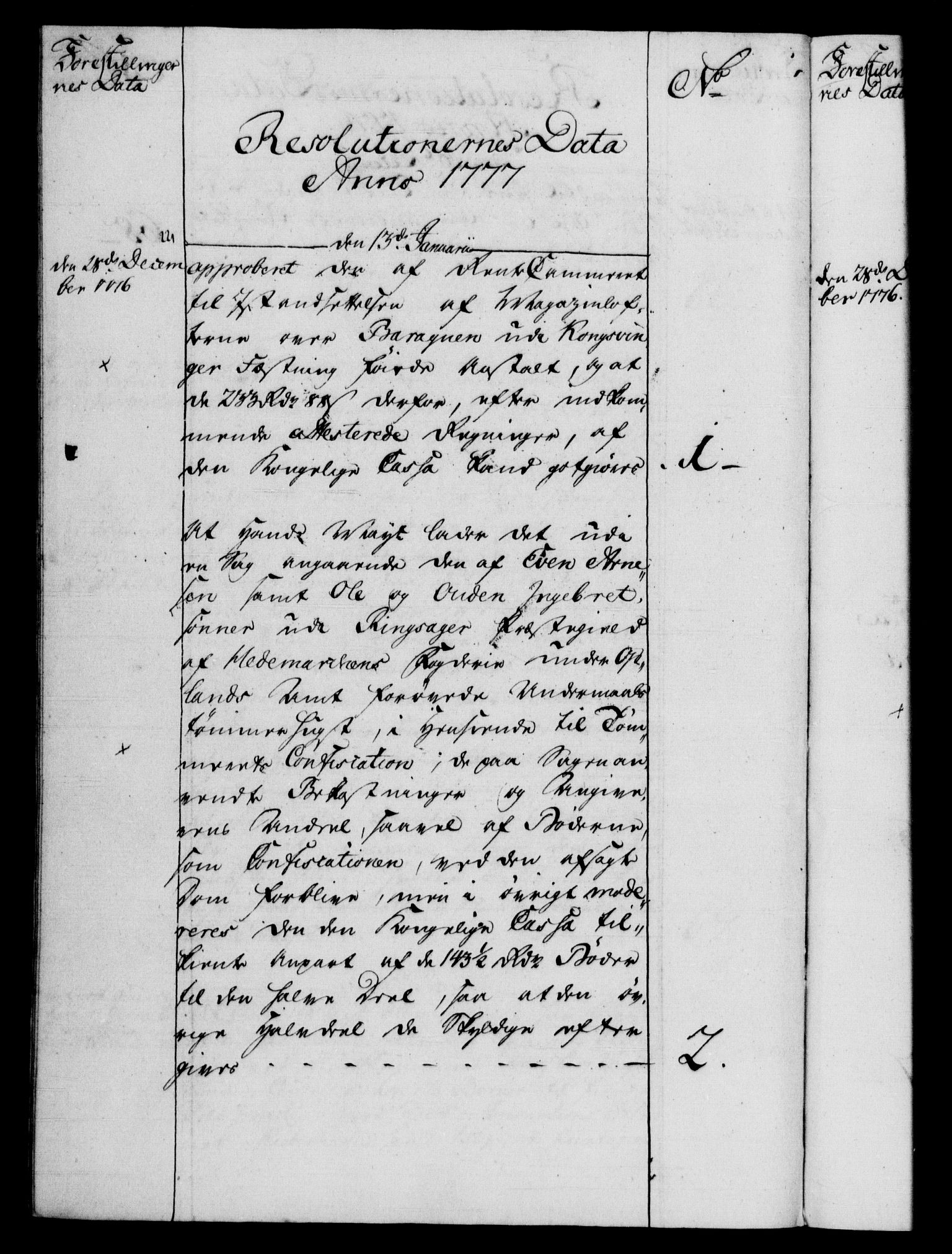 RA, Rentekammeret, Kammerkanselliet, G/Gf/Gfb/L0009: Register til norske relasjons- og resolusjonsprotokoller (merket RK 52.104), 1773-1780, s. 82
