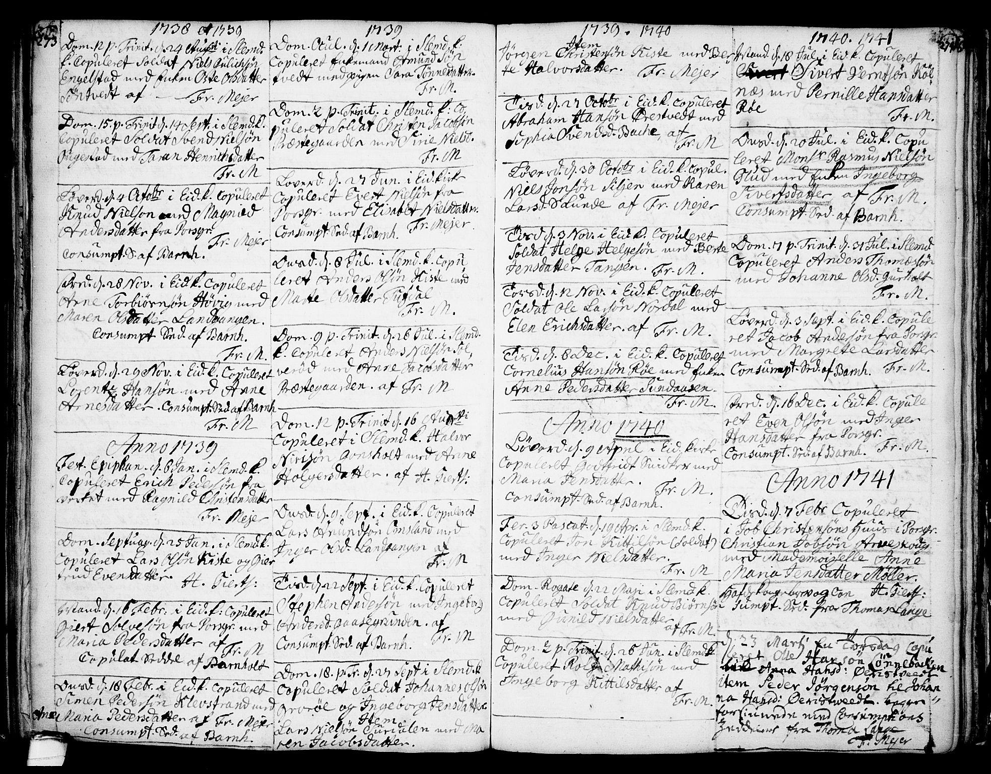 SAKO, Eidanger kirkebøker, F/Fa/L0004: Ministerialbok nr. 4, 1733-1759, s. 273-274