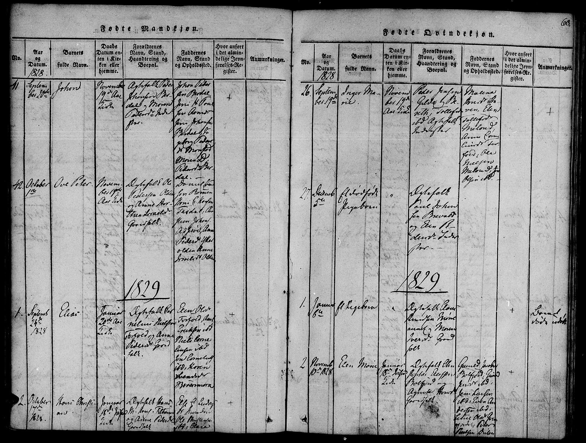 SAT, Ministerialprotokoller, klokkerbøker og fødselsregistre - Sør-Trøndelag, 655/L0675: Ministerialbok nr. 655A04, 1818-1830, s. 68