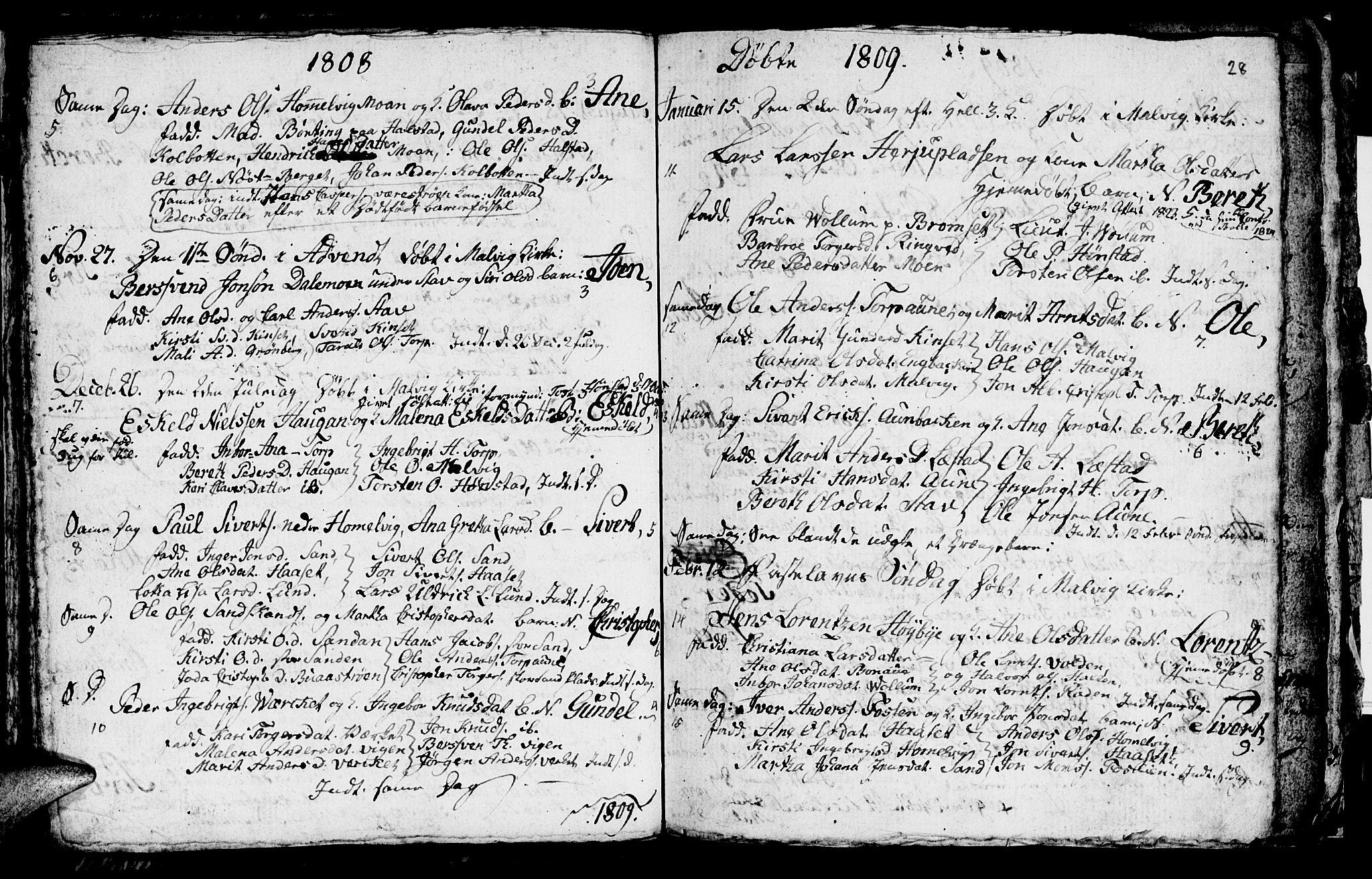 SAT, Ministerialprotokoller, klokkerbøker og fødselsregistre - Sør-Trøndelag, 616/L0419: Klokkerbok nr. 616C02, 1797-1816, s. 28