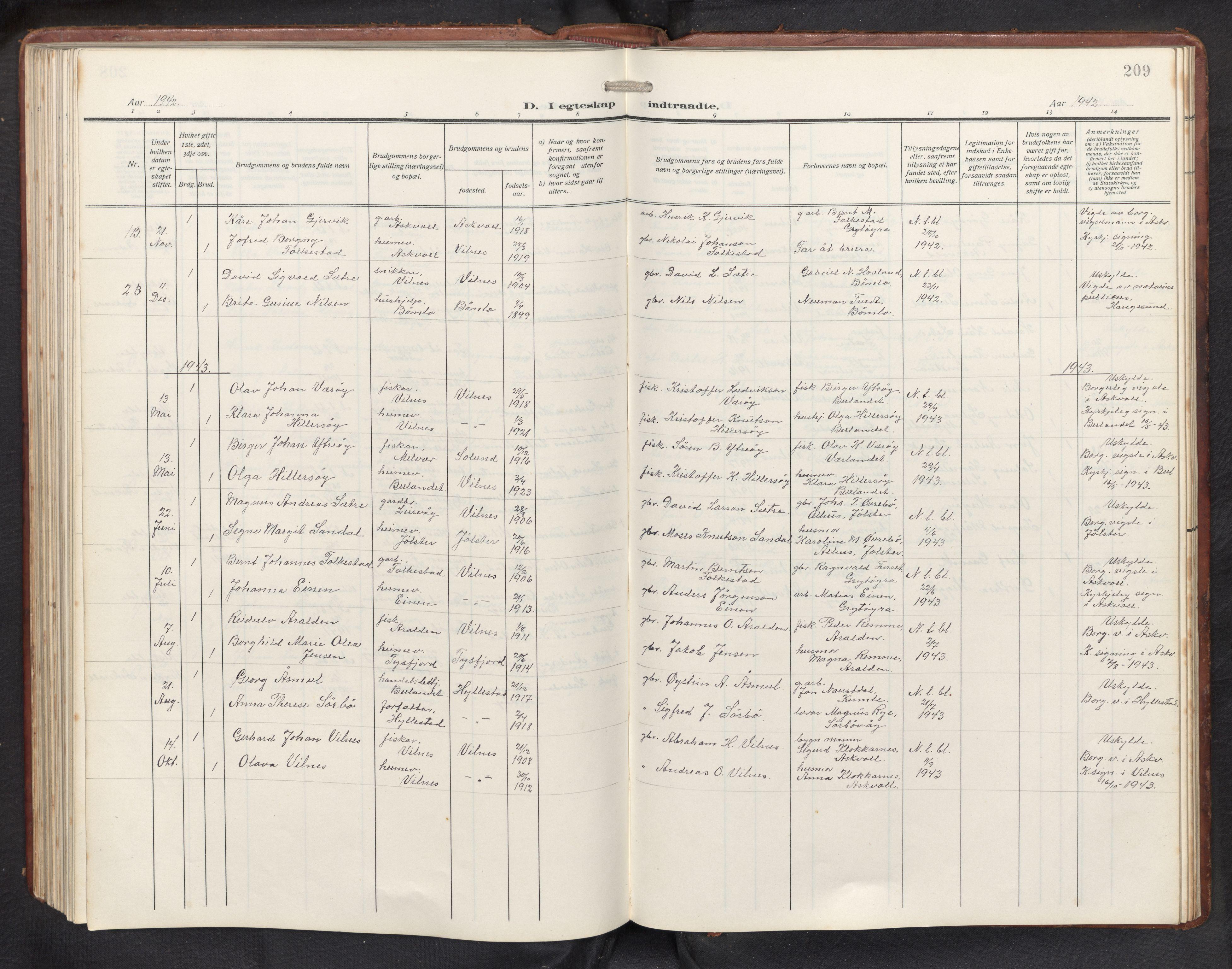 SAB, Askvoll sokneprestembete, H/Hab/Habb/L0002: Klokkerbok nr. B 2, 1910-1947, s. 208b-209a