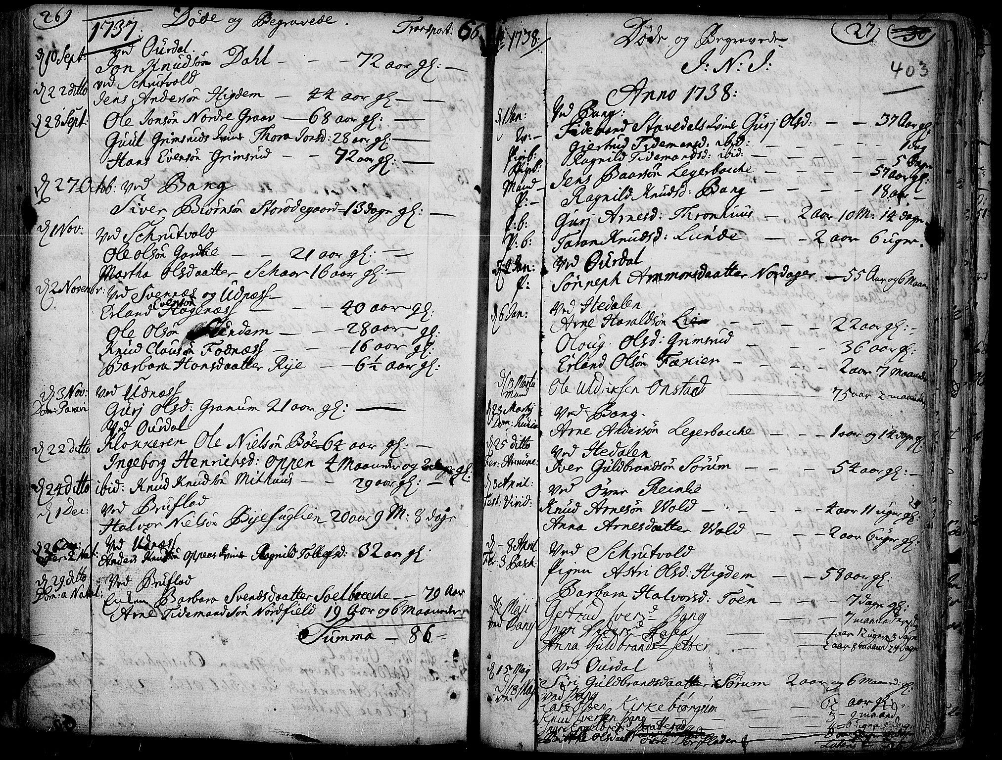SAH, Aurdal prestekontor, Ministerialbok nr. 4, 1730-1762, s. 26-27