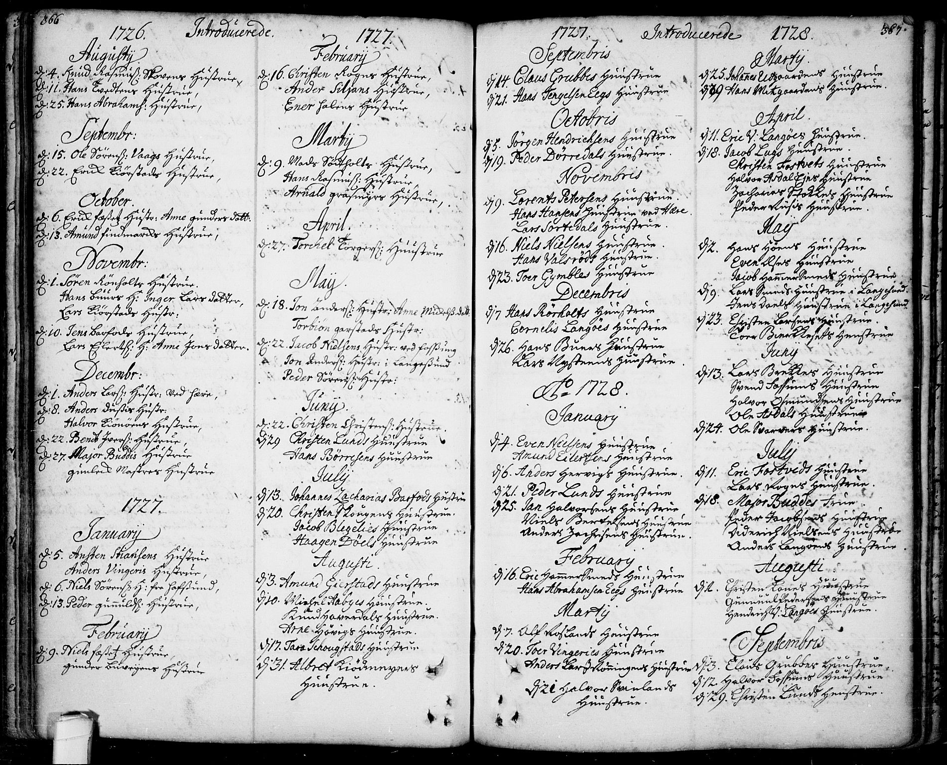 SAKO, Bamble kirkebøker, F/Fa/L0001: Ministerialbok nr. I 1, 1702-1774, s. 366-367