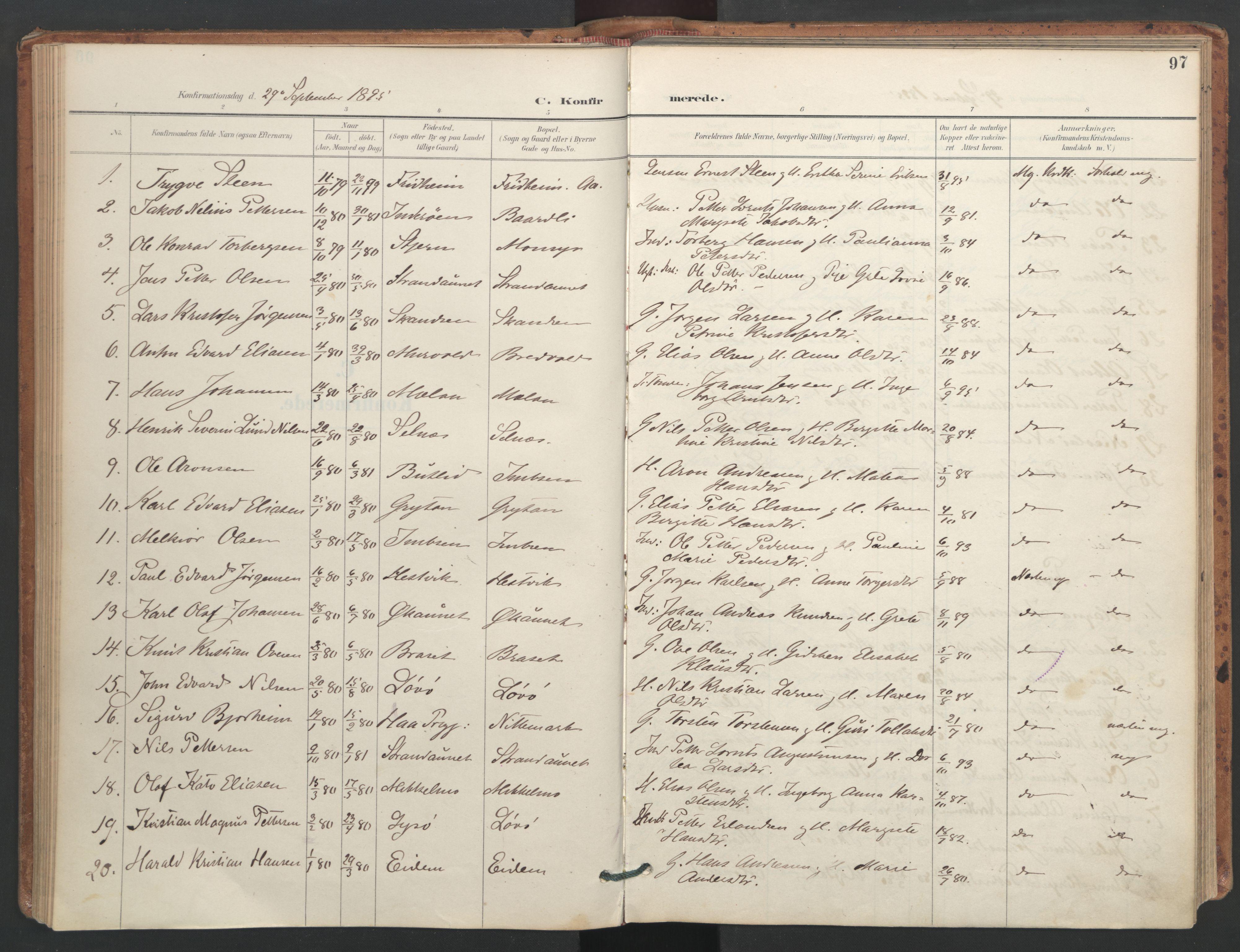 SAT, Ministerialprotokoller, klokkerbøker og fødselsregistre - Sør-Trøndelag, 655/L0681: Ministerialbok nr. 655A10, 1895-1907, s. 97