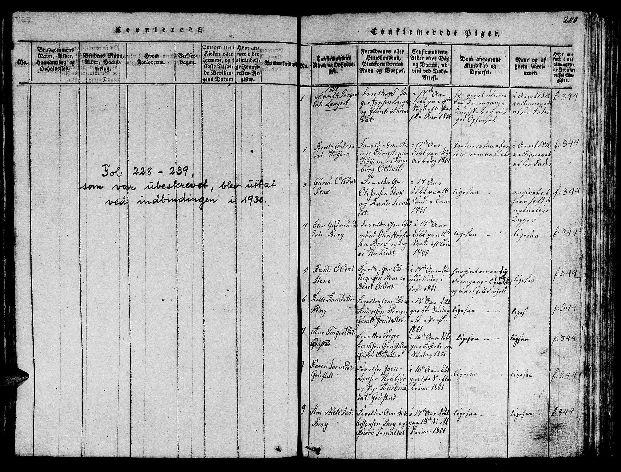 SAT, Ministerialprotokoller, klokkerbøker og fødselsregistre - Sør-Trøndelag, 612/L0385: Klokkerbok nr. 612C01, 1816-1845, s. 240