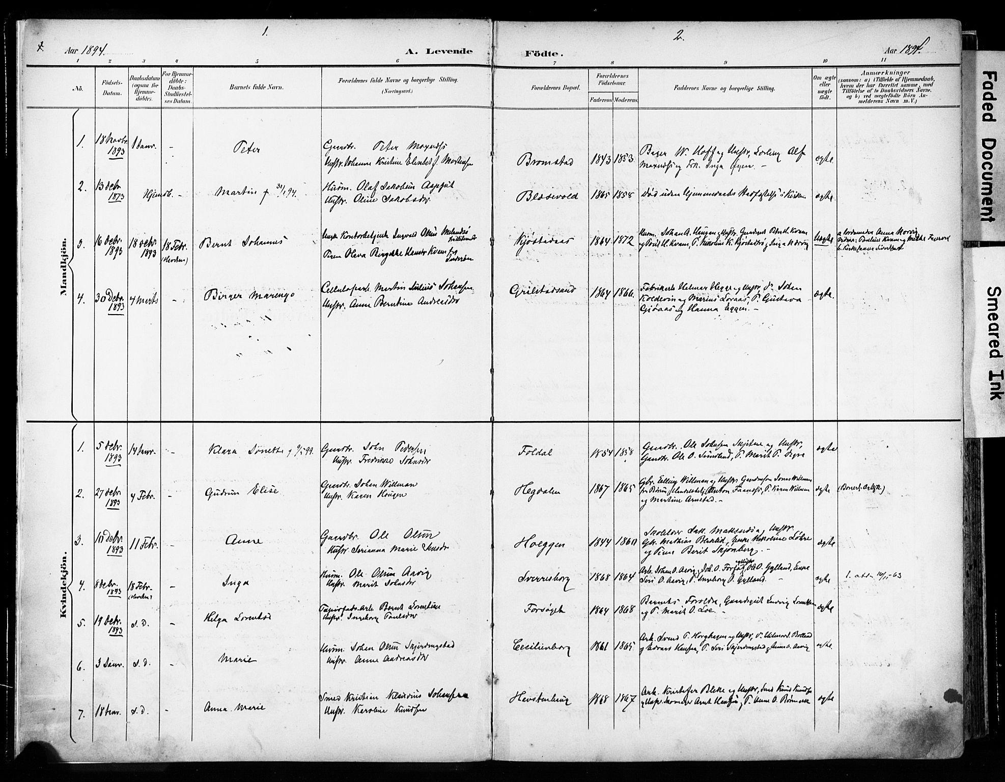 SAT, Ministerialprotokoller, klokkerbøker og fødselsregistre - Sør-Trøndelag, 606/L0301: Ministerialbok nr. 606A16, 1894-1907, s. 1-2
