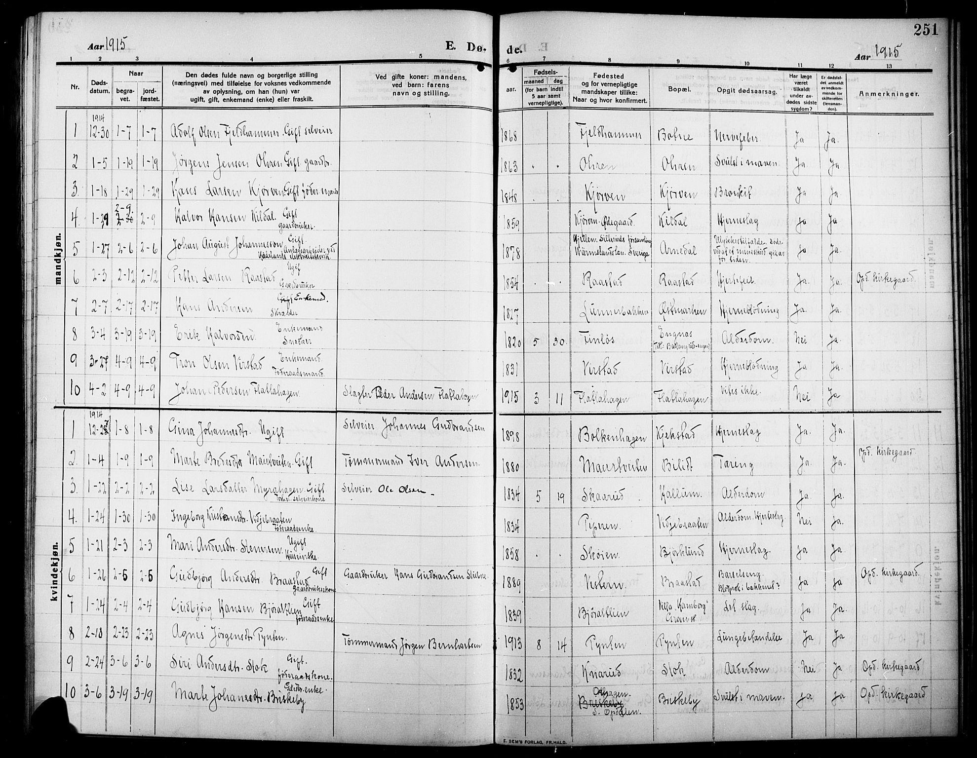 SAH, Lunner prestekontor, H/Ha/Hab/L0001: Klokkerbok nr. 1, 1909-1922, s. 251