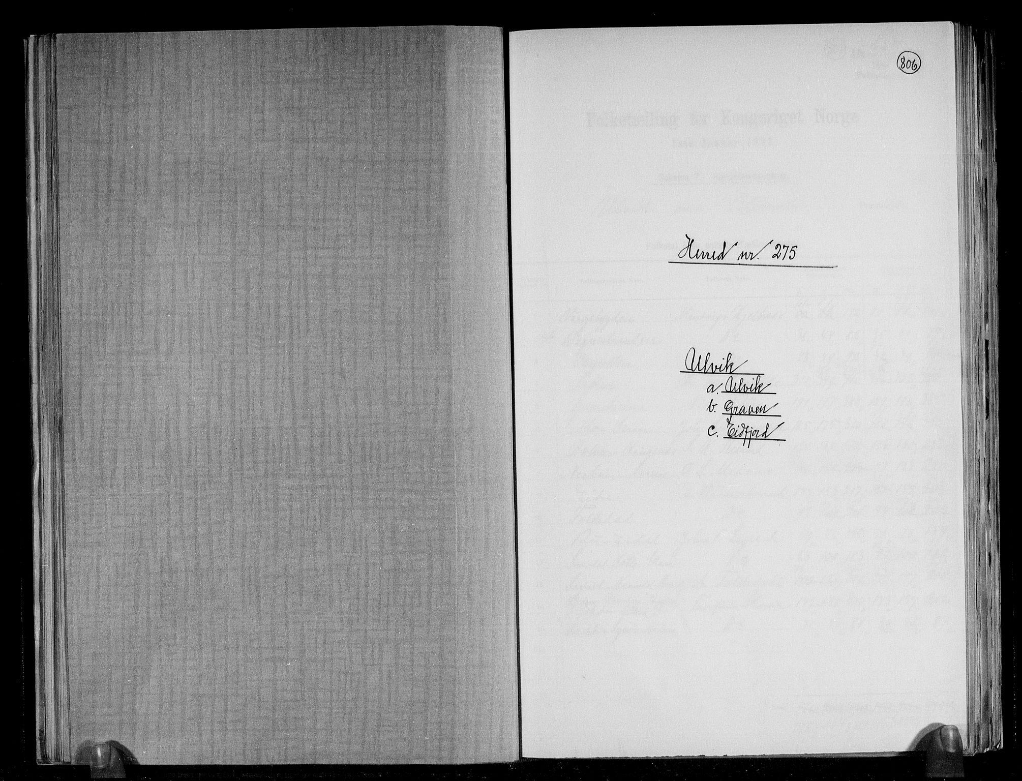 RA, Folketelling 1891 for 1233 Ulvik herred, 1891, s. 1