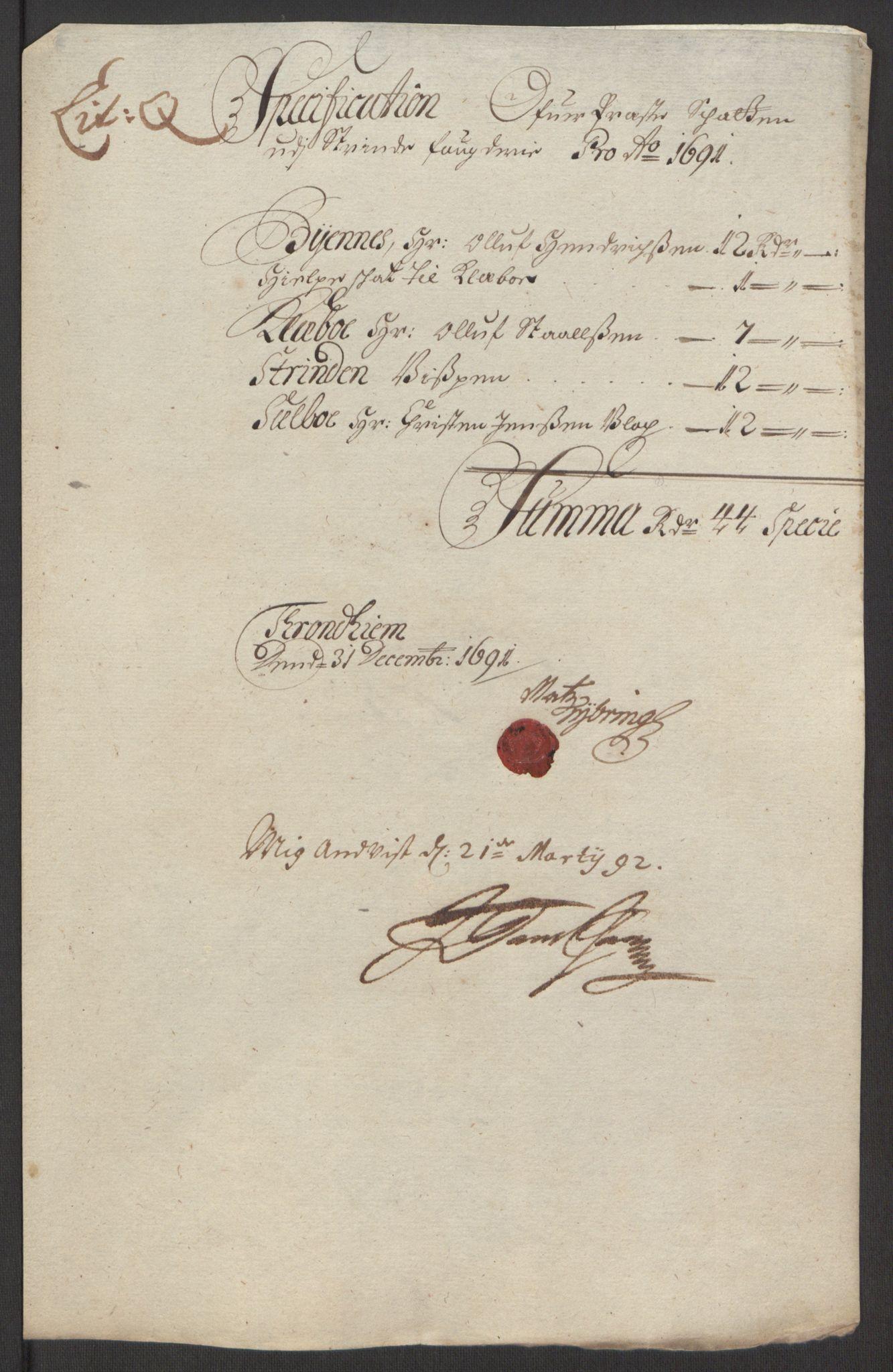 RA, Rentekammeret inntil 1814, Reviderte regnskaper, Fogderegnskap, R61/L4103: Fogderegnskap Strinda og Selbu, 1691-1692, s. 153
