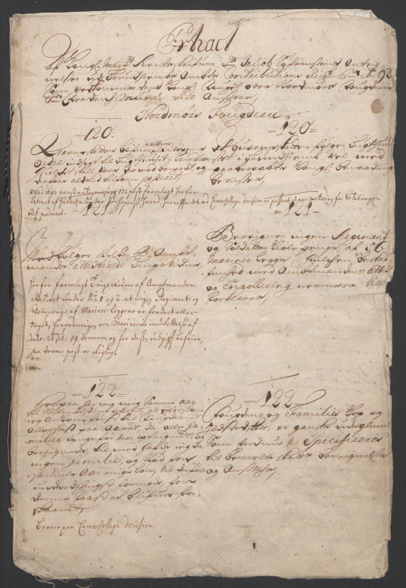 RA, Rentekammeret inntil 1814, Reviderte regnskaper, Fogderegnskap, R56/L3735: Fogderegnskap Nordmøre, 1692-1693, s. 9