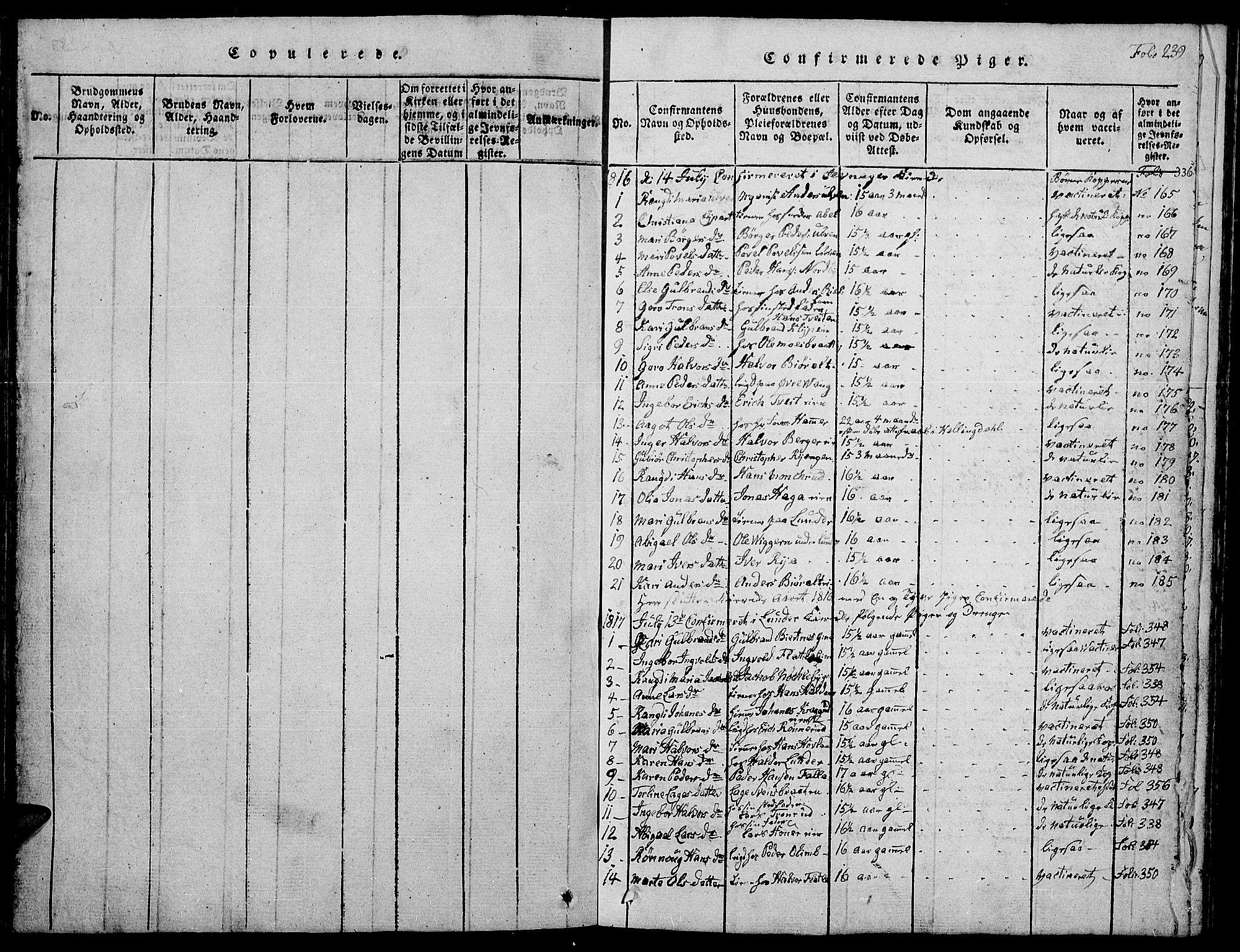 SAH, Jevnaker prestekontor, Klokkerbok nr. 1, 1815-1837, s. 239